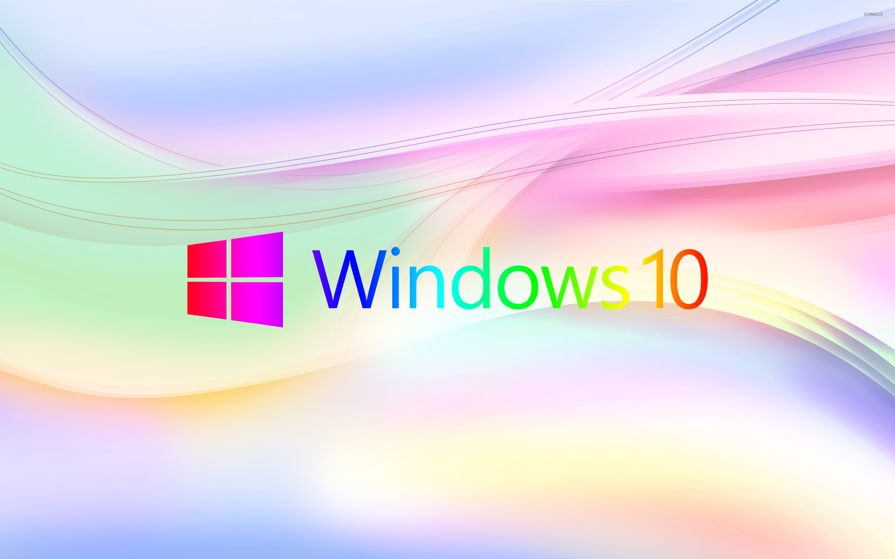 Res: 2880x1800, Colorful Windows 10 logo on pastel waves wallpaper