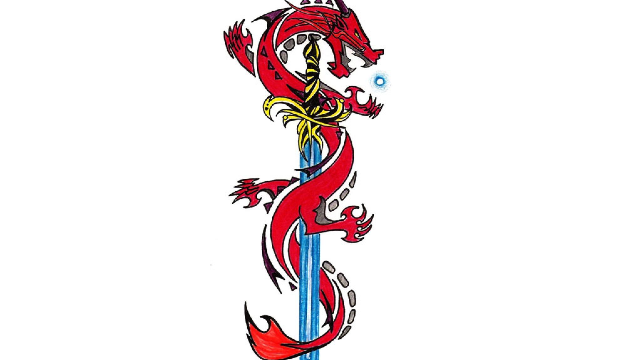 Res: 2048x1152, hintergrundbild Dragon Sword Farbe Art Tattoo Design Wallpaper Weißer  Hintergrund