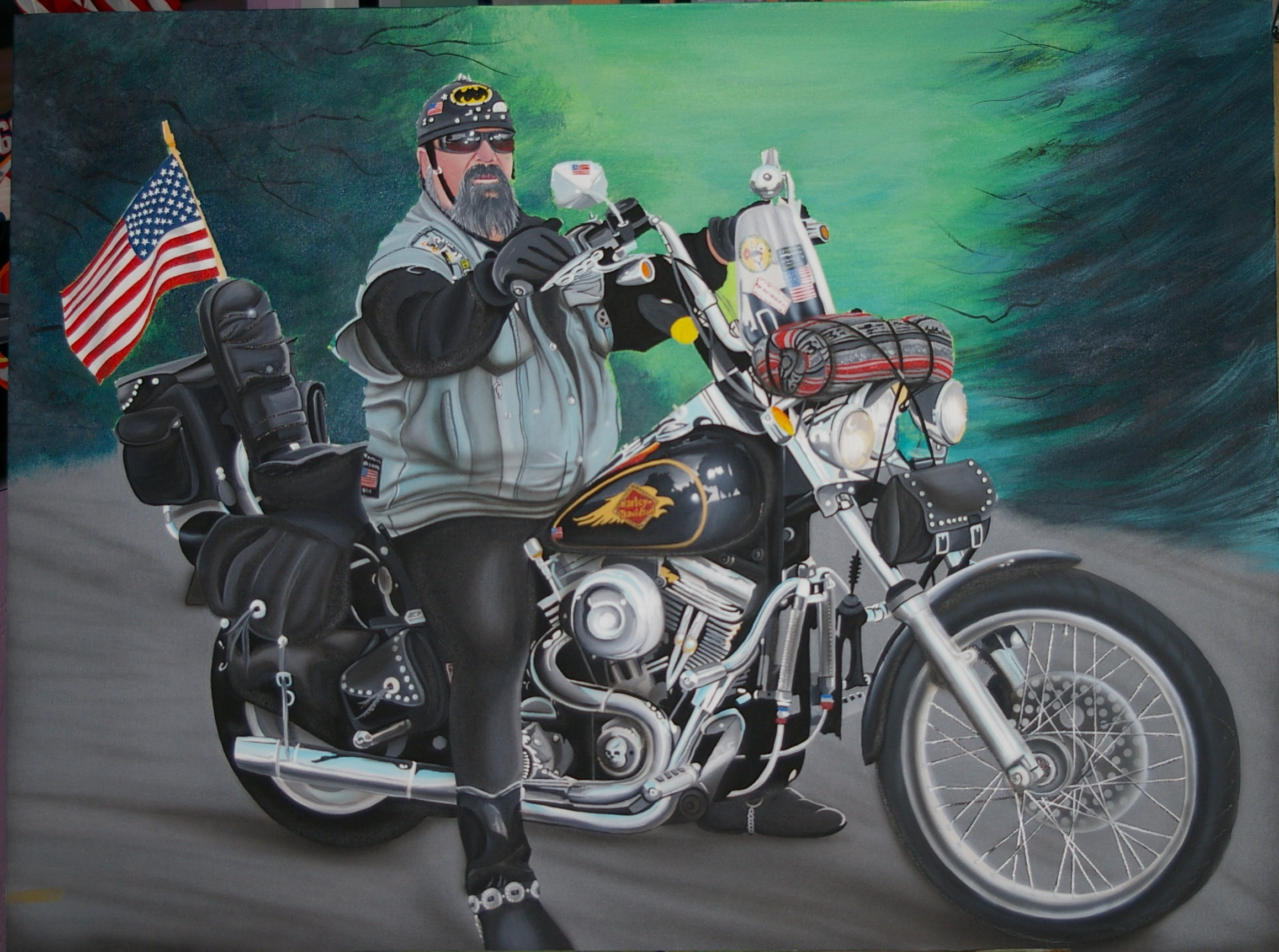 Res: 2317x1726, David Mann Motorcycle Art Wallpaper