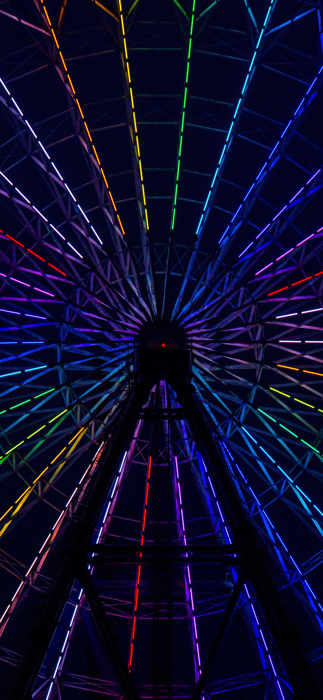 Res: 1125x2436, iPhone wallpaper neon wheel colorful Neon lights