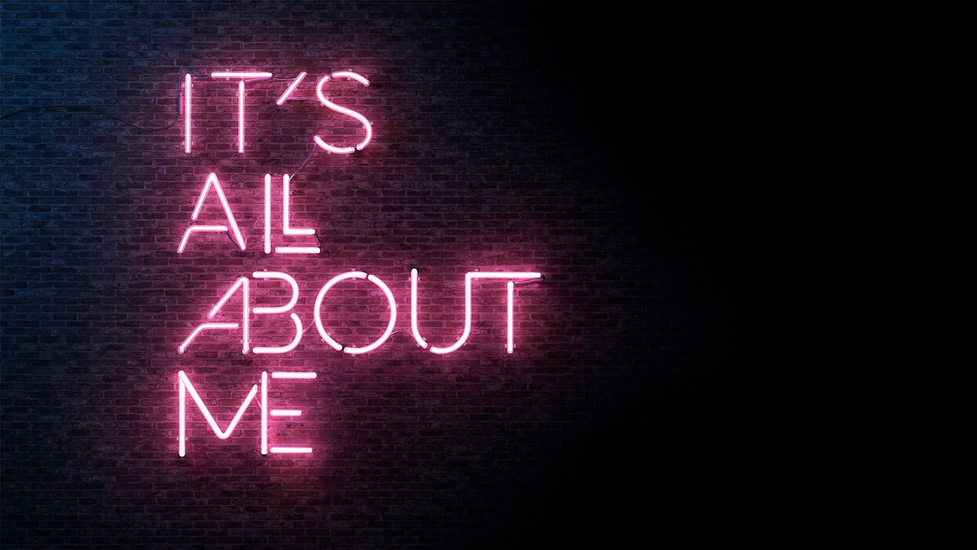Res: 1920x1080, Download  It's All About Me, Wall, Neon Light Wallpapers .