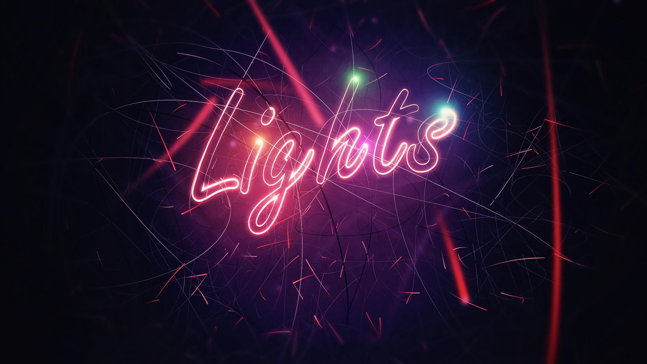 Res: 2560x1440, #neon, #digital art, #lights, #typography wallpaper