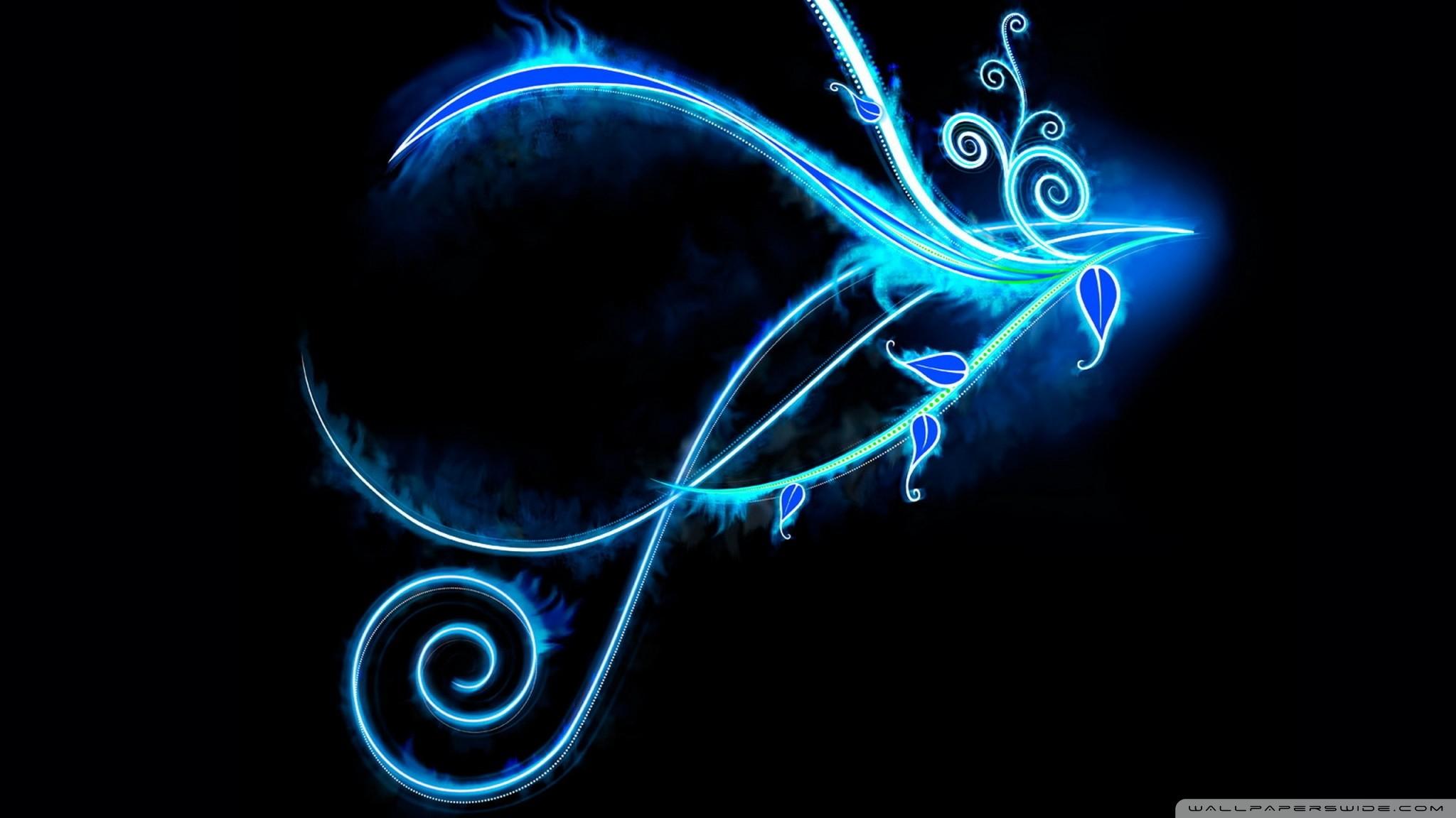 Res: 2048x1152, Blue Neon Light Swirls HD desktop wallpaper : Widescreen : High