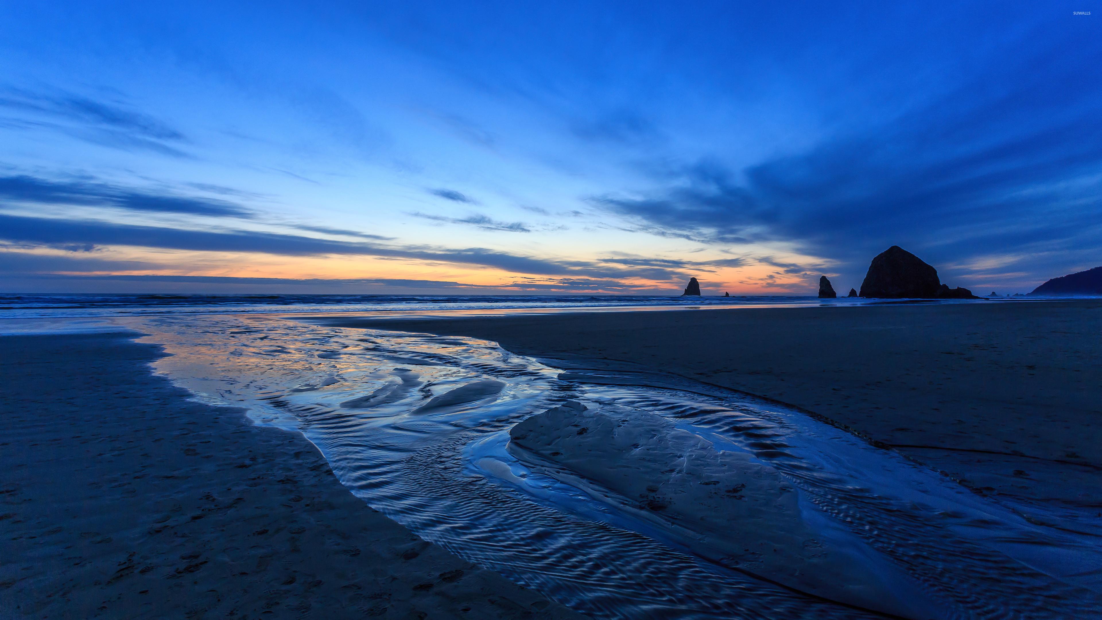 Res: 3840x2160, Blue ocean sunset wallpaper