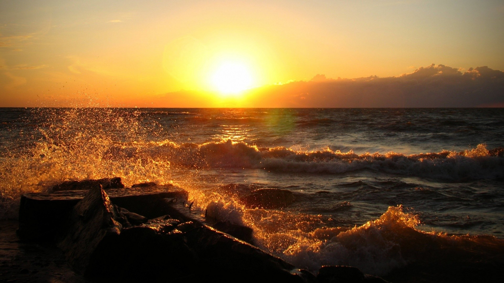 Res: 1920x1080, Fantastic Ocean Sunset Wallpaper
