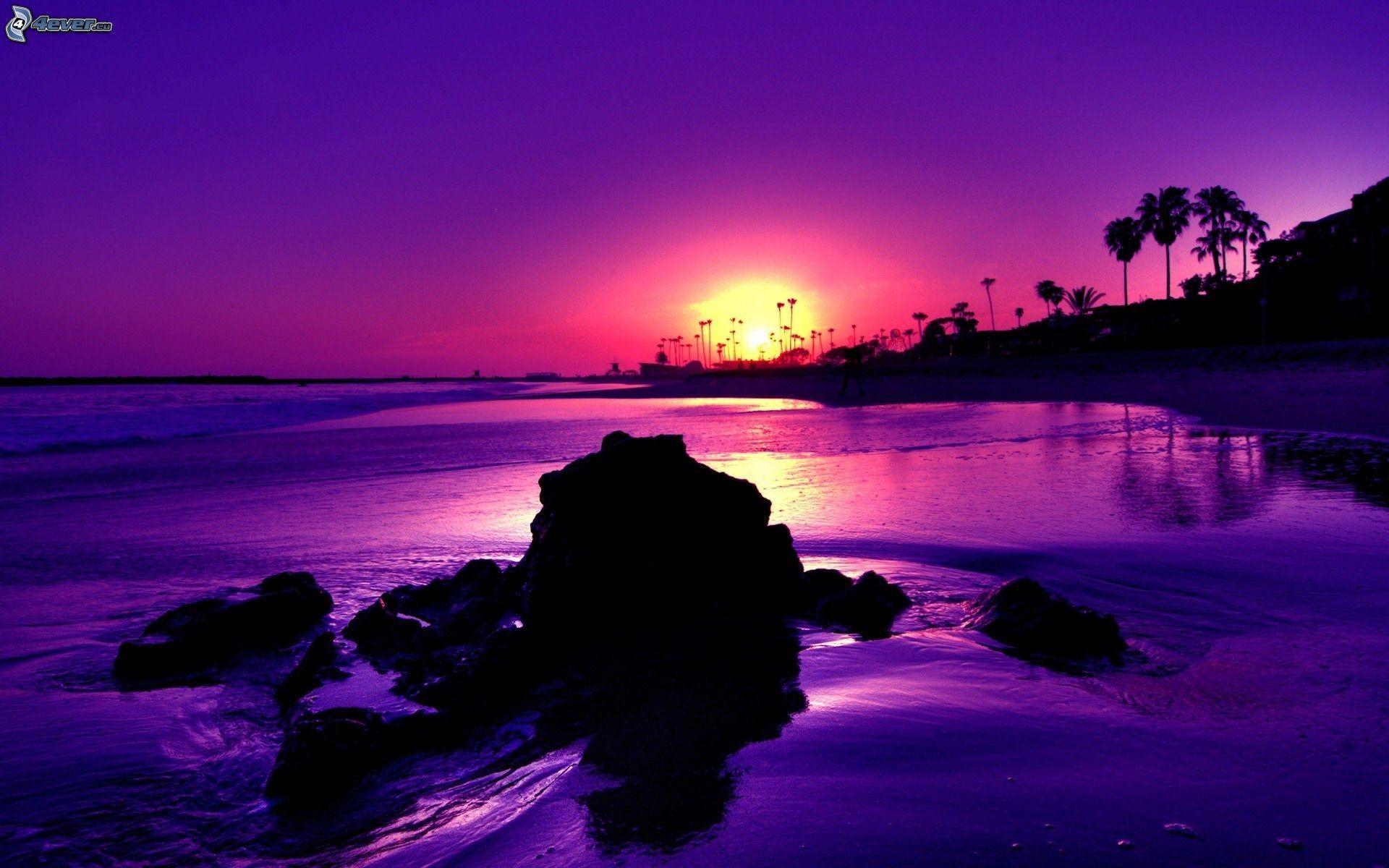 Res: 1920x1200, Purple Ocean Sunset