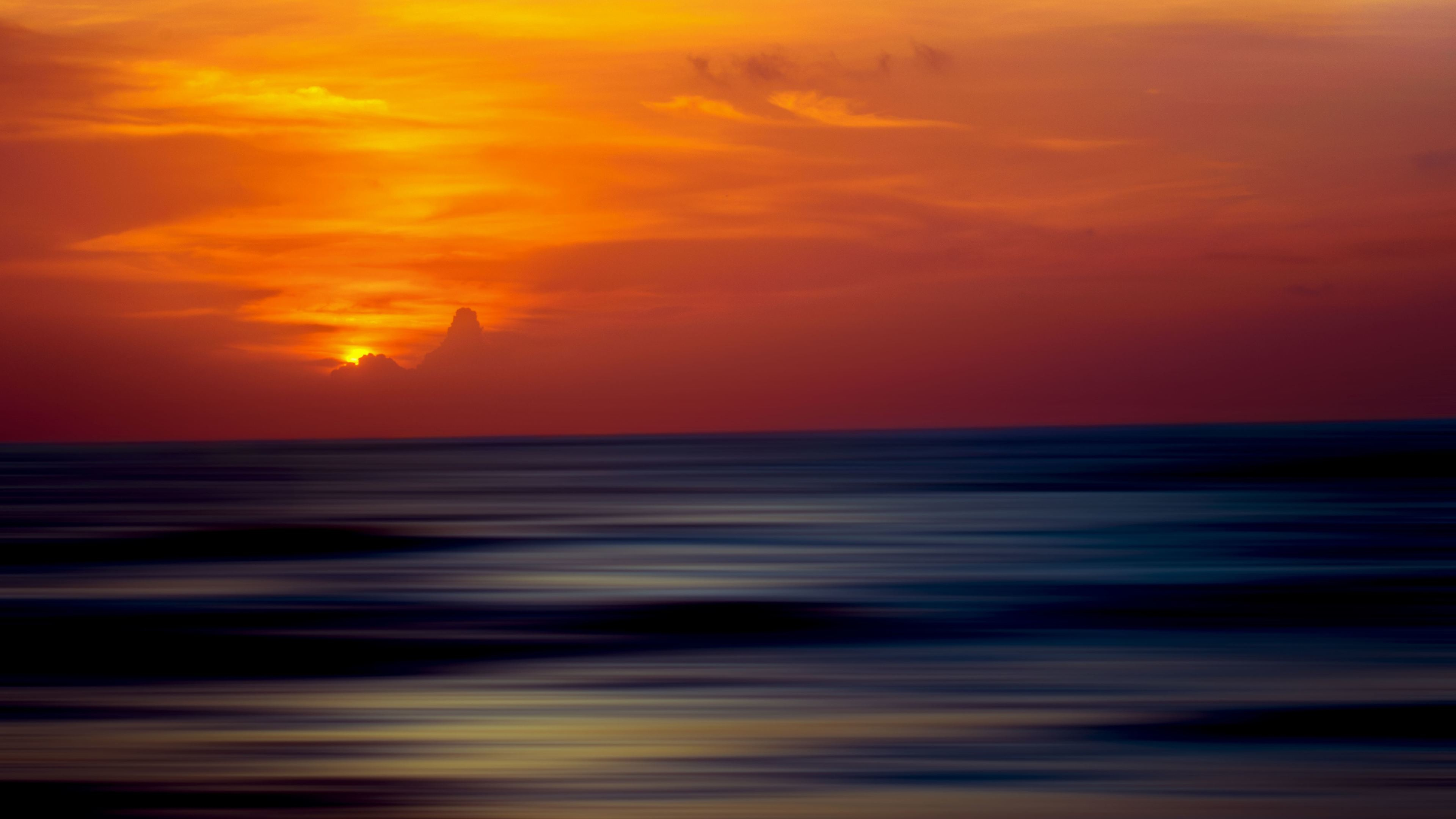 Res: 3840x2160, 5k Ocean Sunset Ripple Effect