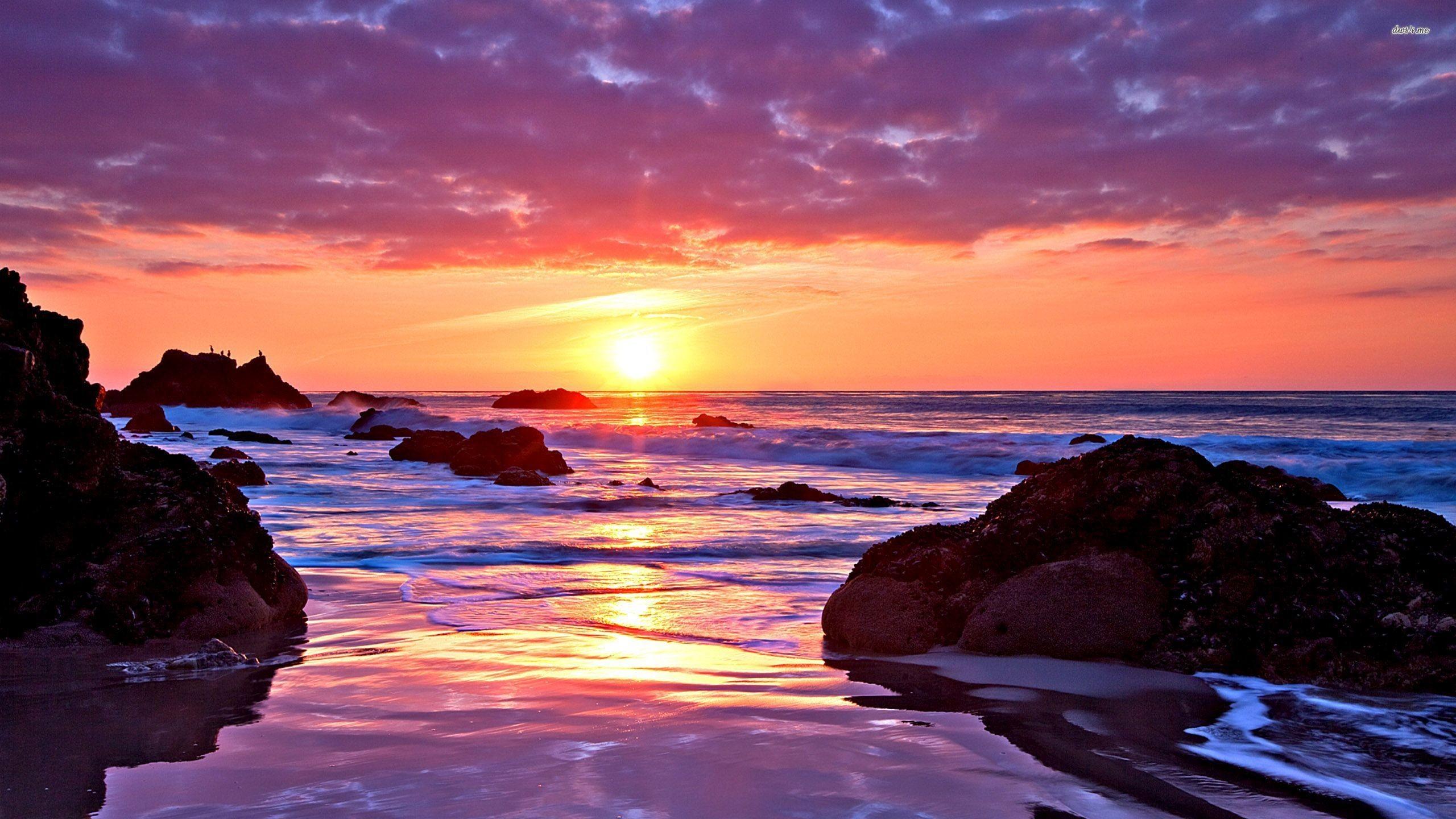 Res: 2560x1440, Ocean Sunset Wallpapers Desktop Background Mountain Lake