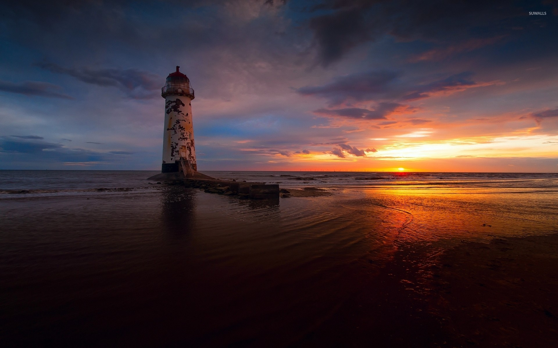 Res: 1920x1200, Abandoned lighthouse with a great view of the ocean sunset wallpaper