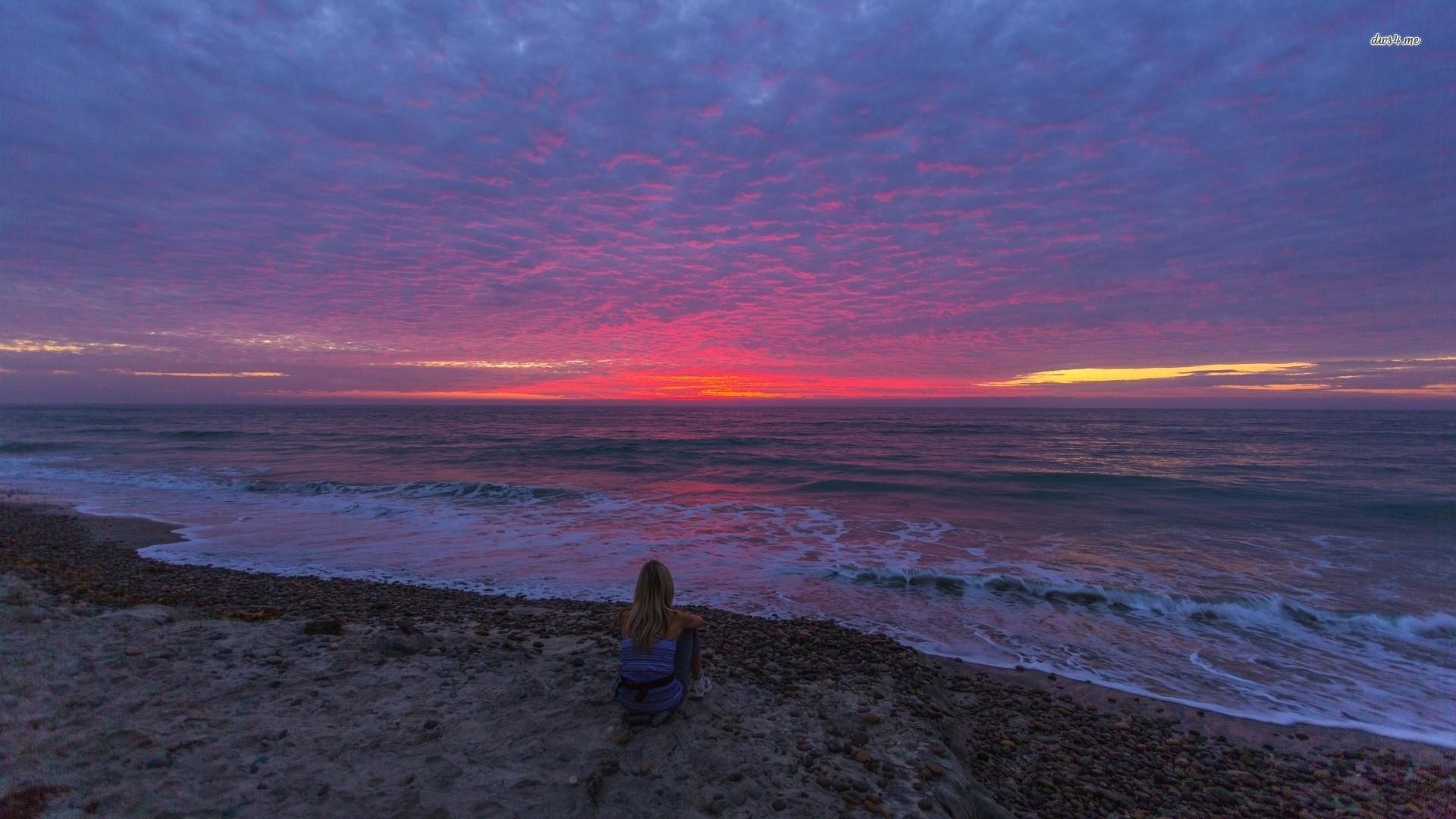 Res: 1920x1080, ... Blonde girl enjoying the beautiful ocean sunset wallpaper  ...