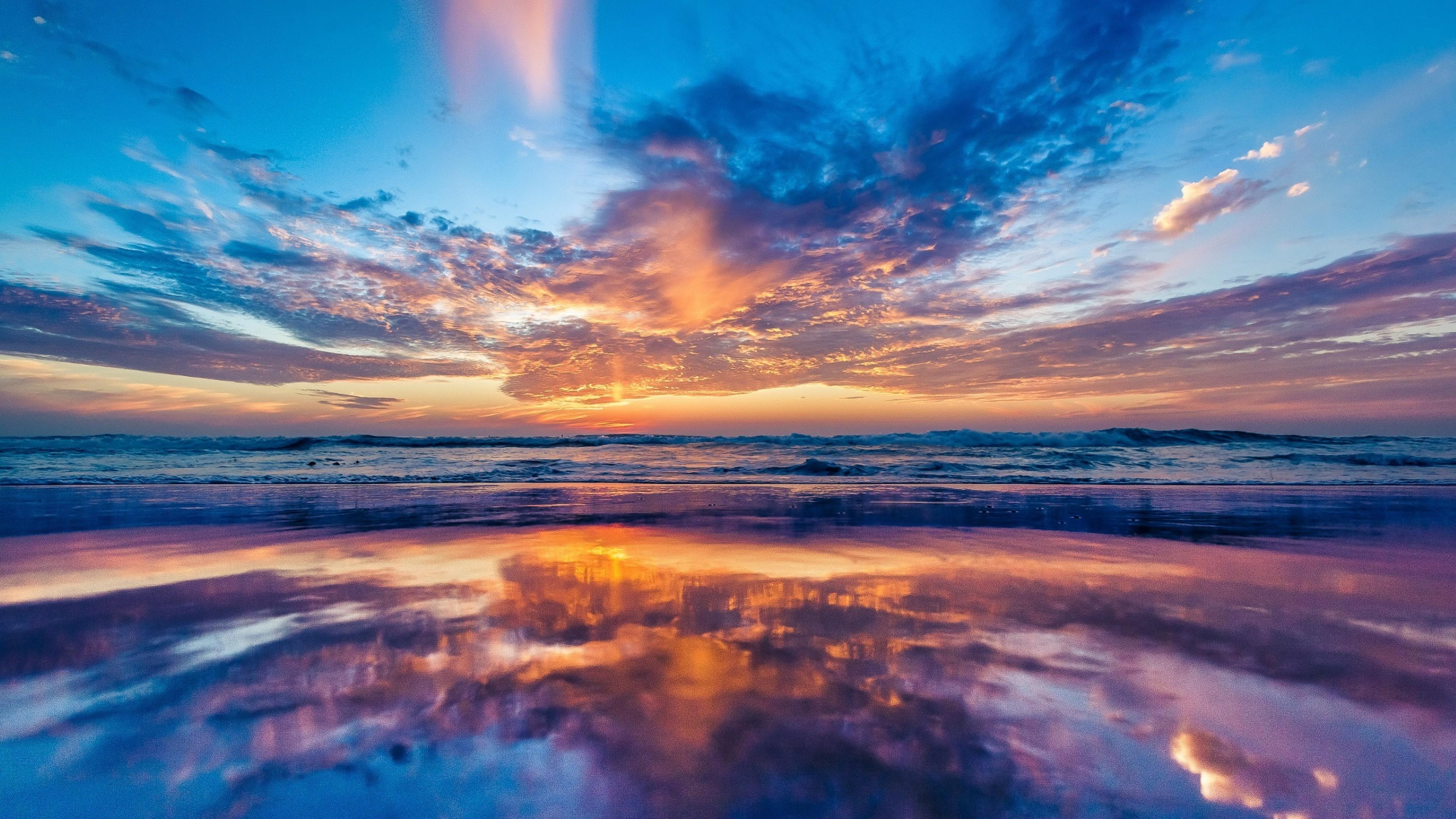 Res: 3840x2160, Ocean Horizon Sunset Wallpaper 6 - 3840 X 2160