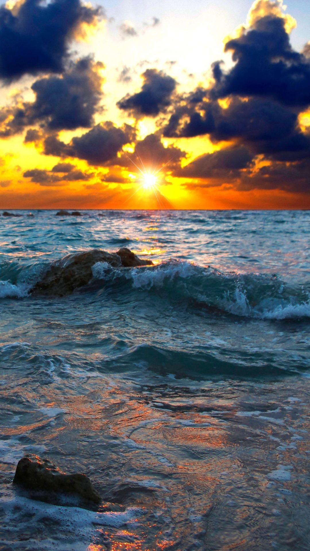 Res: 1080x1920,  Wallpaper sea, surf, sunset, stones