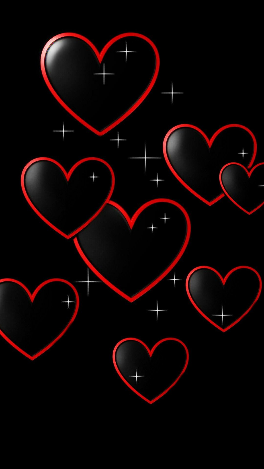 Res: 1080x1920, Red w/ blk hearts