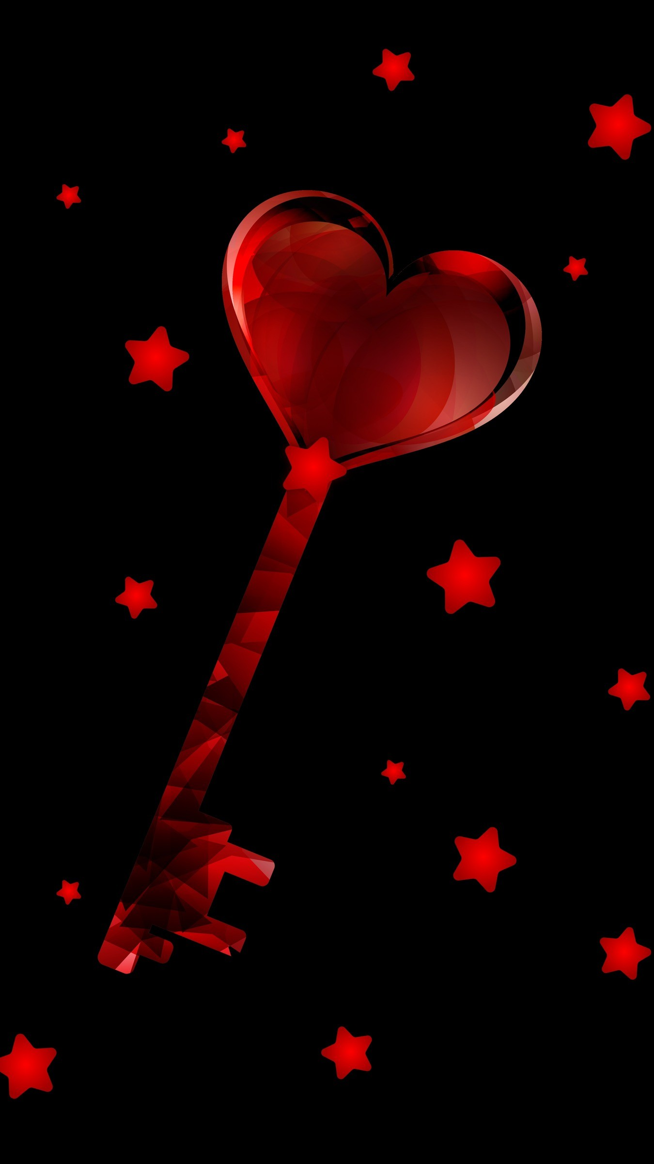 Res: 1350x2400,  Wallpaper key, love, heart, stars, red
