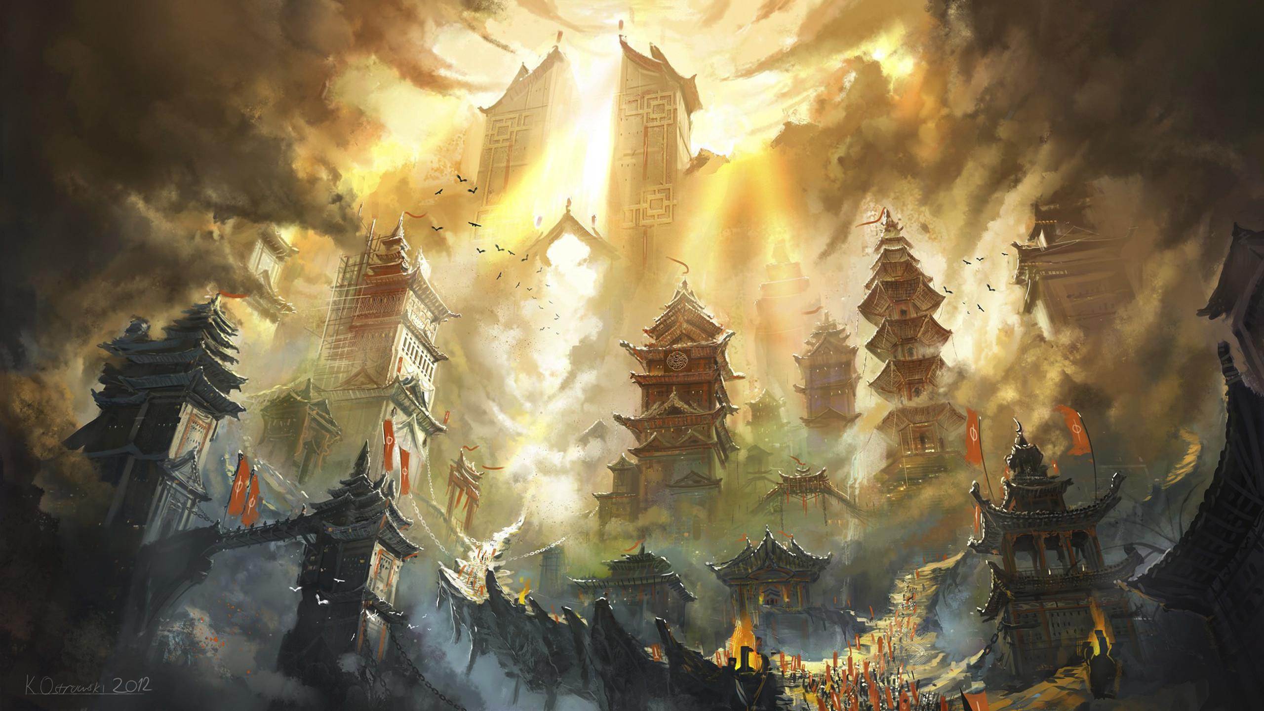 Res: 2560x1440, Free Anime Fantasy Landscape, computer desktop wallpapers, pictures, images