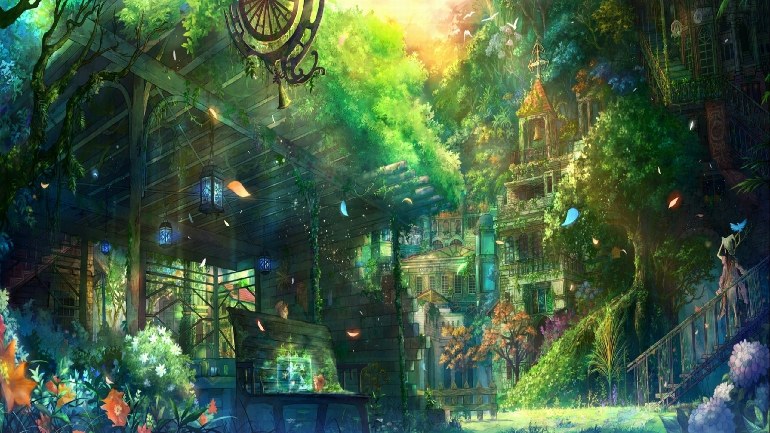 Res: 2560x1440, anime, Original, City, Cities, Art, Artwork, Fantasy, Detail Wallpapers HD  / Desktop and Mobile Backgrounds