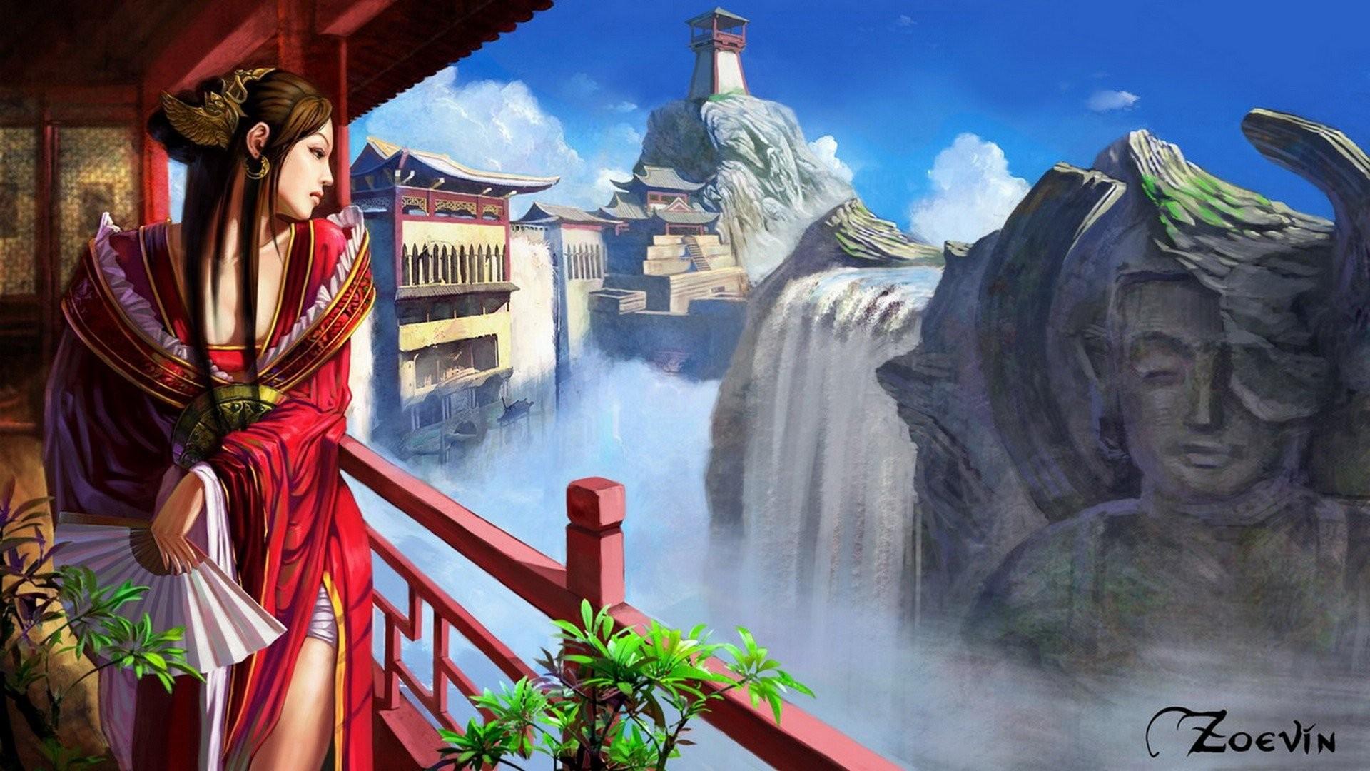 Res: 1920x1080, landscapes, Fantasy, Art, Digital, Art, Artwork, Anime, Anime, Girls  Wallpapers HD / Desktop and Mobile Backgrounds