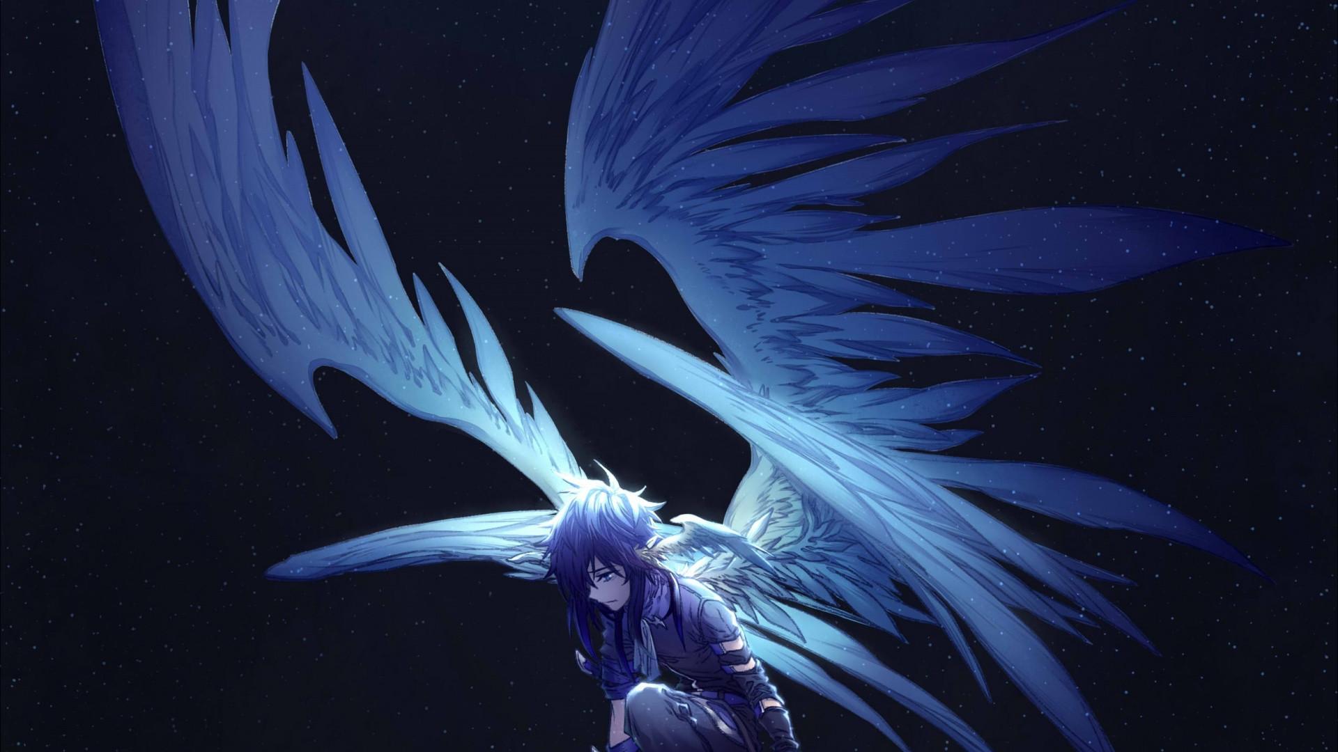 Res: 1920x1080, Dark, big wings, angel, fantasy, anime,  wallpaper