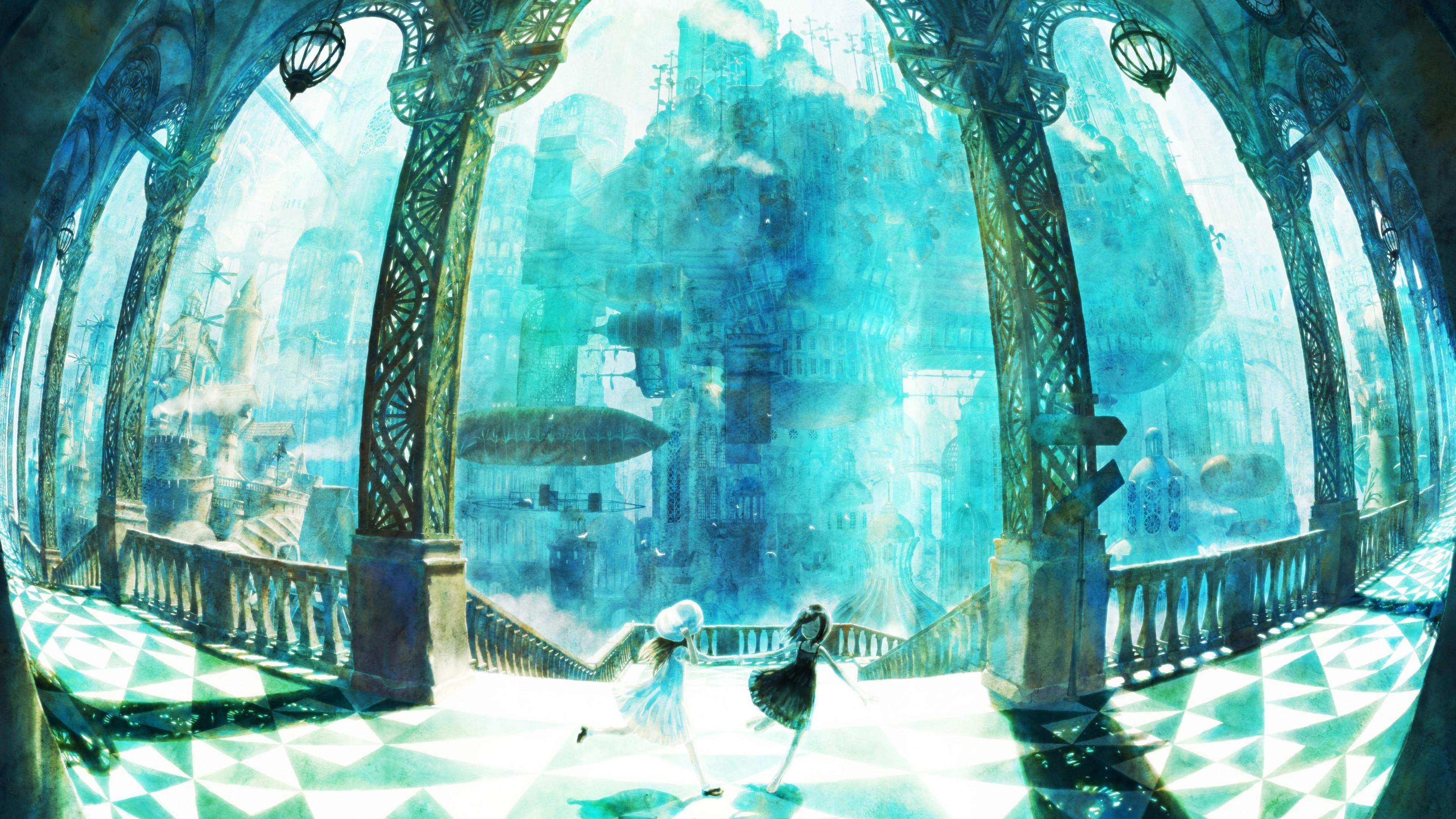 Res: 3840x2160, Anime Fantasy World, Castle, Airship, Running Around, Kids, Columns