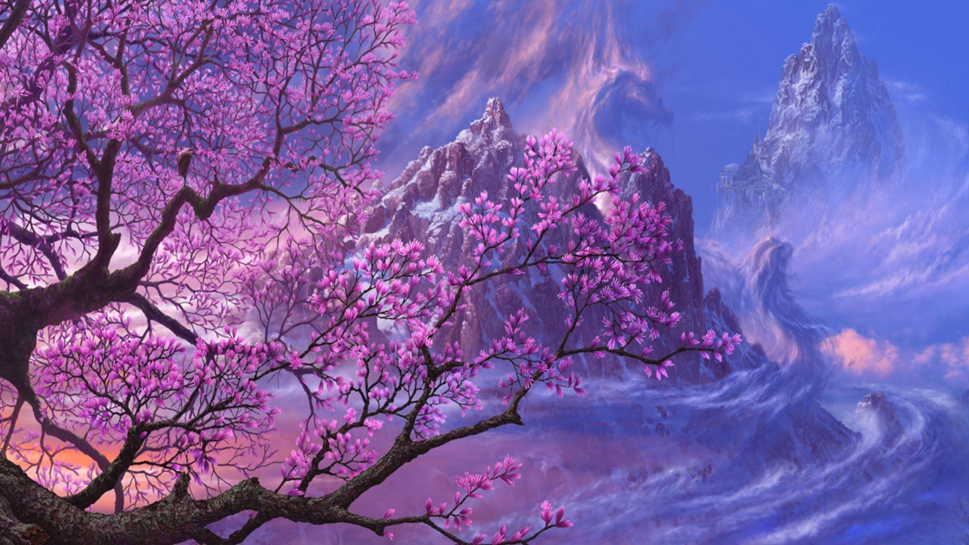 Res: 1920x1080, Anime Artwork Asia Dragons Fantasy Art Purple Trees - Image #3878 -  Licence: Free