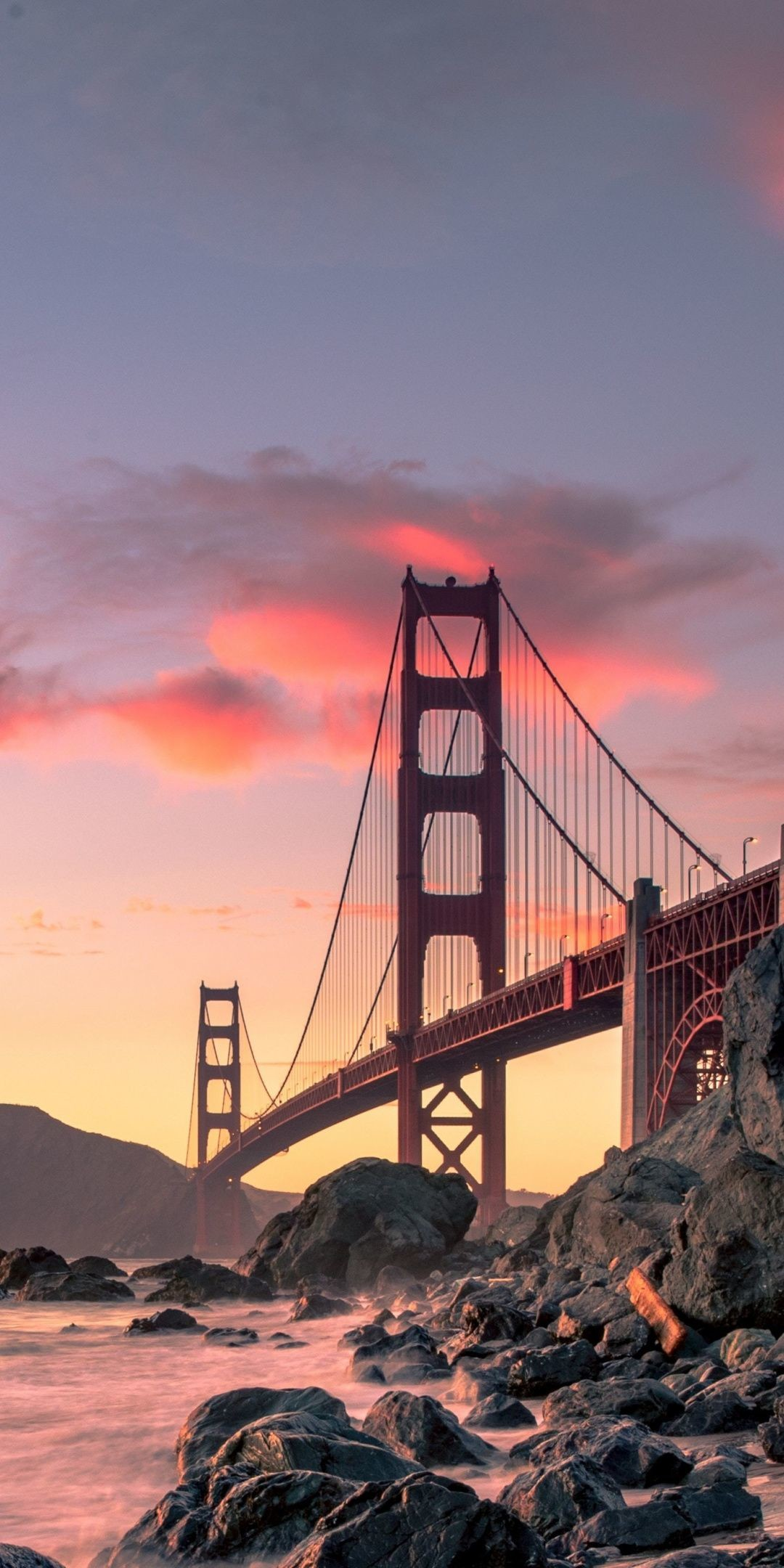 Res: 1080x2160, Sunset, bridge, Golden Gate Bridge, architecture,  wallpaper