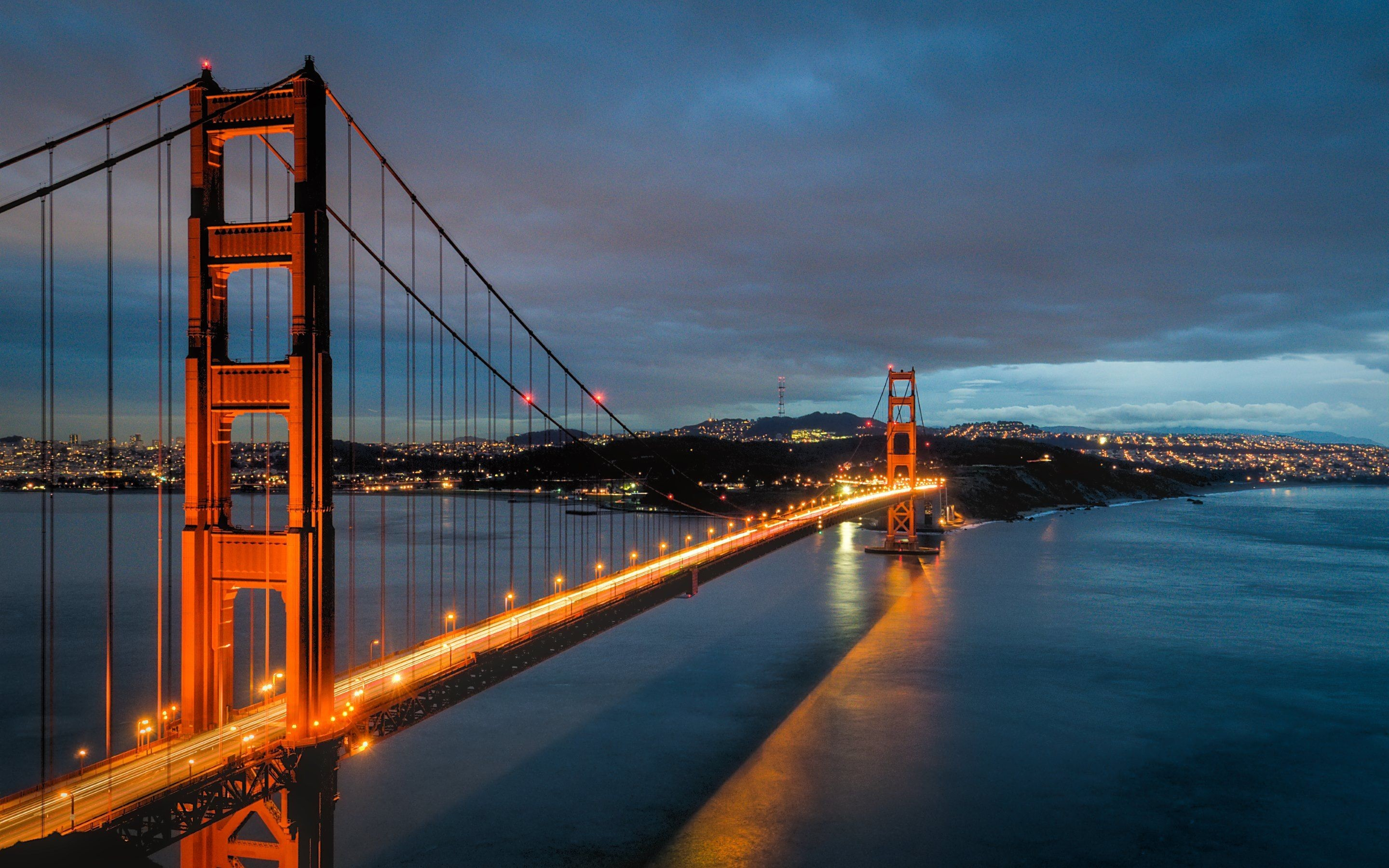 Res: 2880x1800, Dusk, Landmark, Golden Gate Bridge, San Francisco, Water Wallpaper in   Resolution