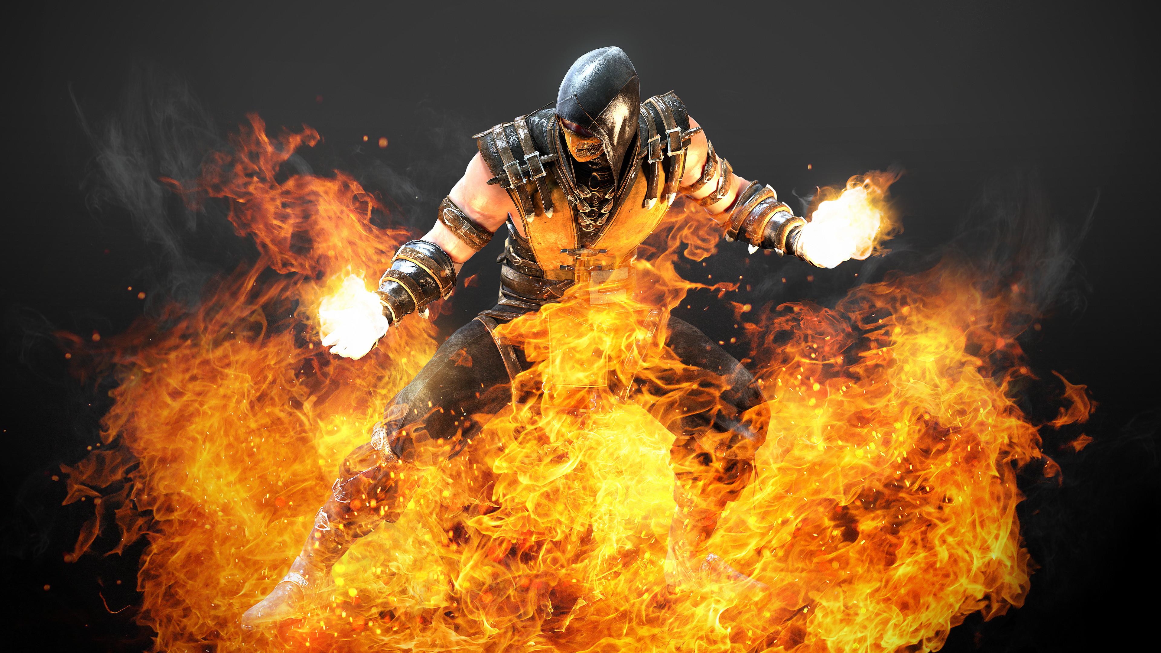 Res: 3840x2160, Hellfire Scorpion Mortal Kombat X 5k Artwork