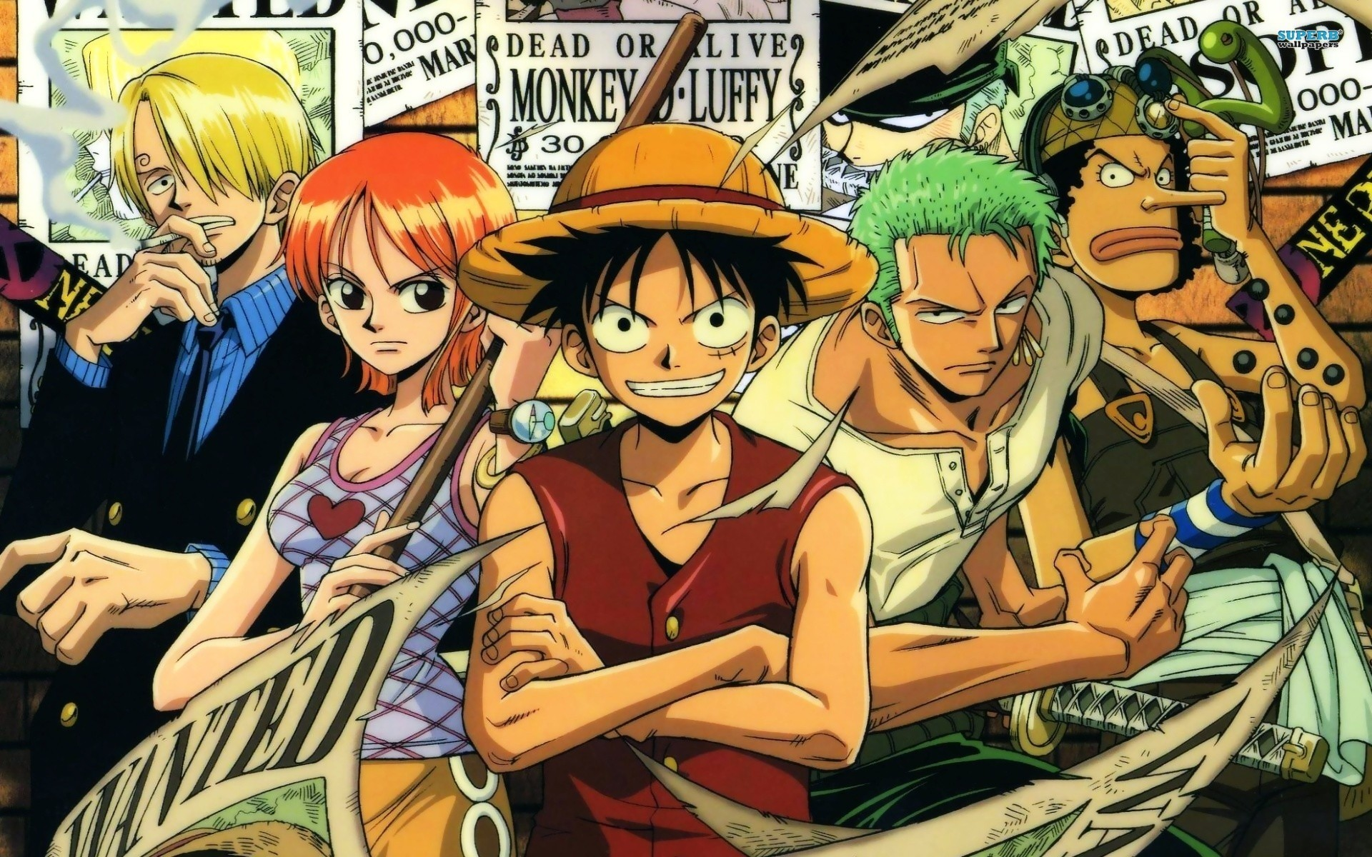 Res: 1920x1200, One Piece, Monkey D. Luffy, Nami, Roronoa Zoro, Usopp, Sanji, Anime  Wallpapers HD / Desktop and Mobile Backgrounds