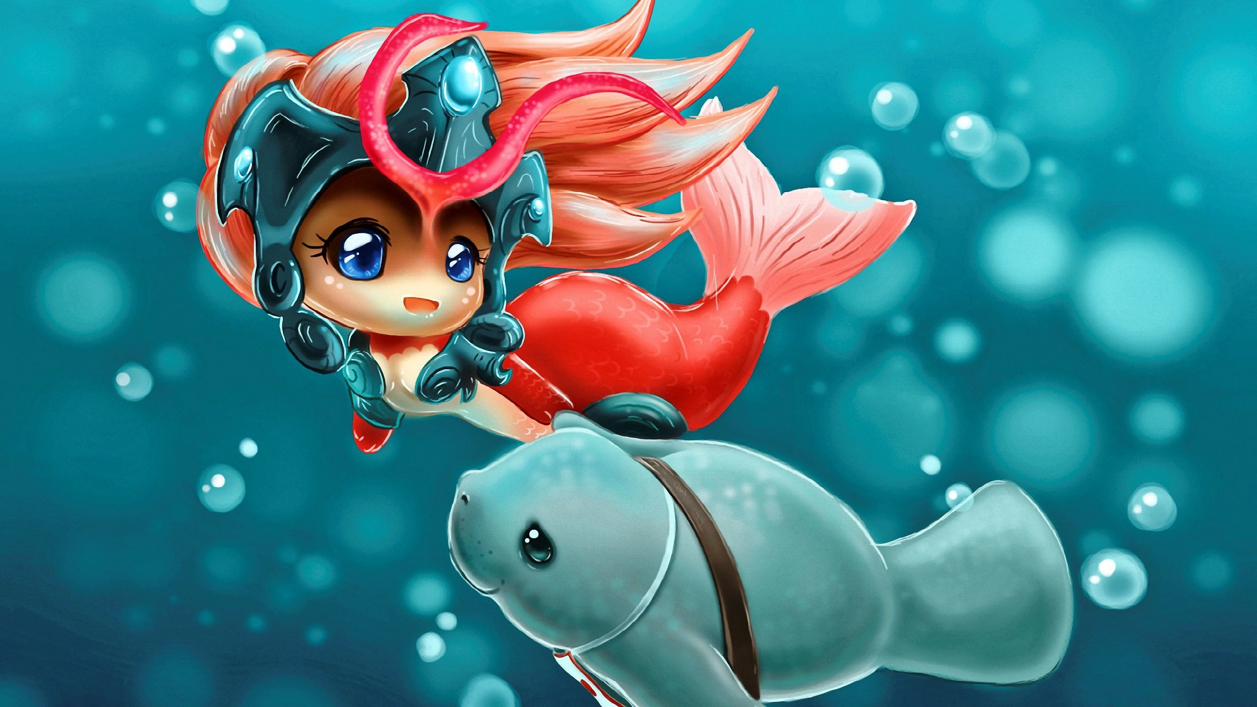 Res: 2560x1440, Computerspiel League Of Legends Nami Mermaid Anime Urf Wallpaper