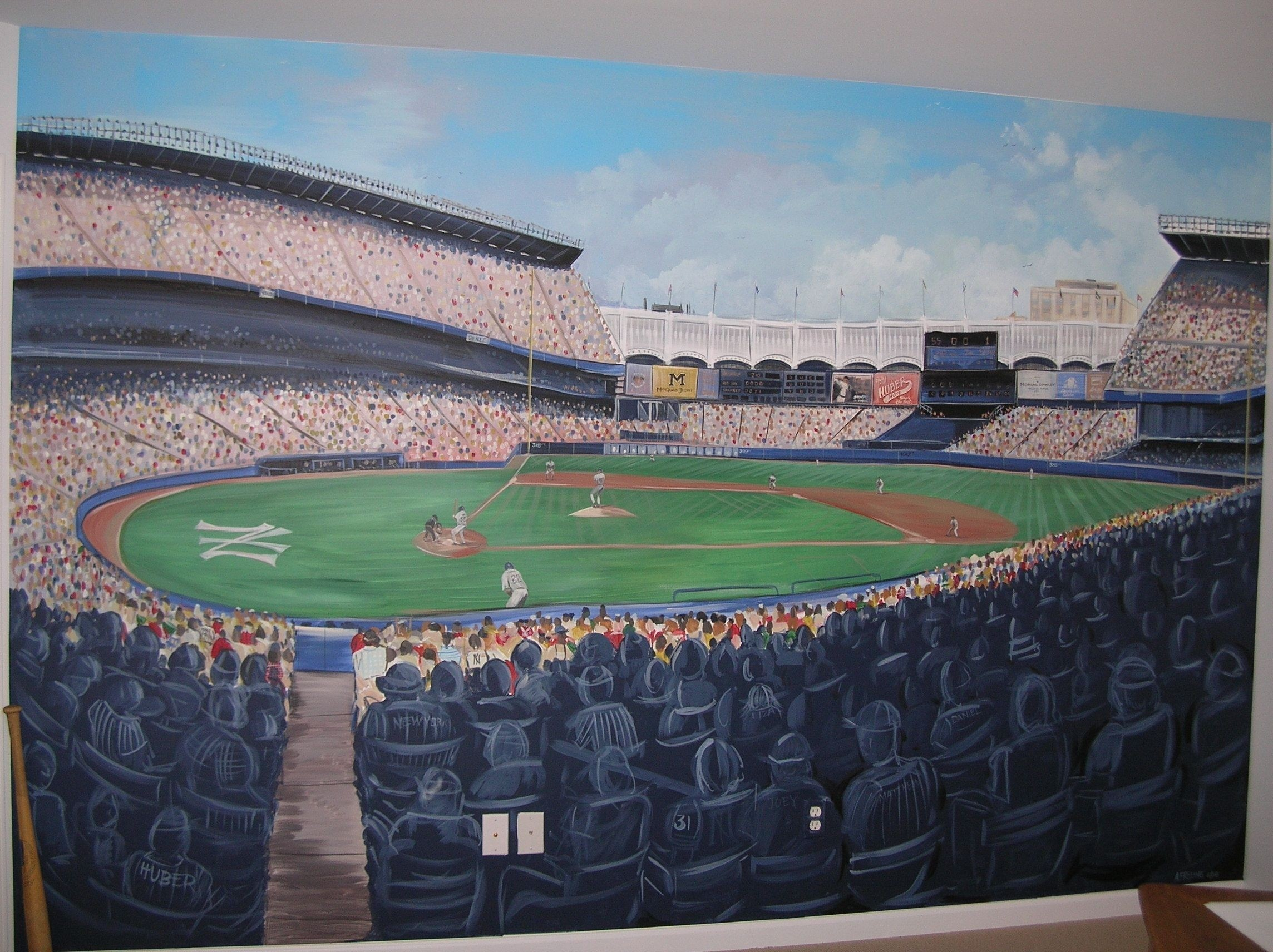 Res: 2288x1712, ... Painted Yankee Stadium Mural Complete With Fans Baseball Field And ...