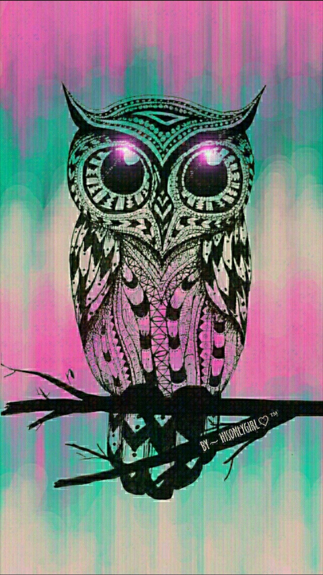 Res: 1080x1920, Cute owl, grunge wallpaper I created for the app CocoPPa.