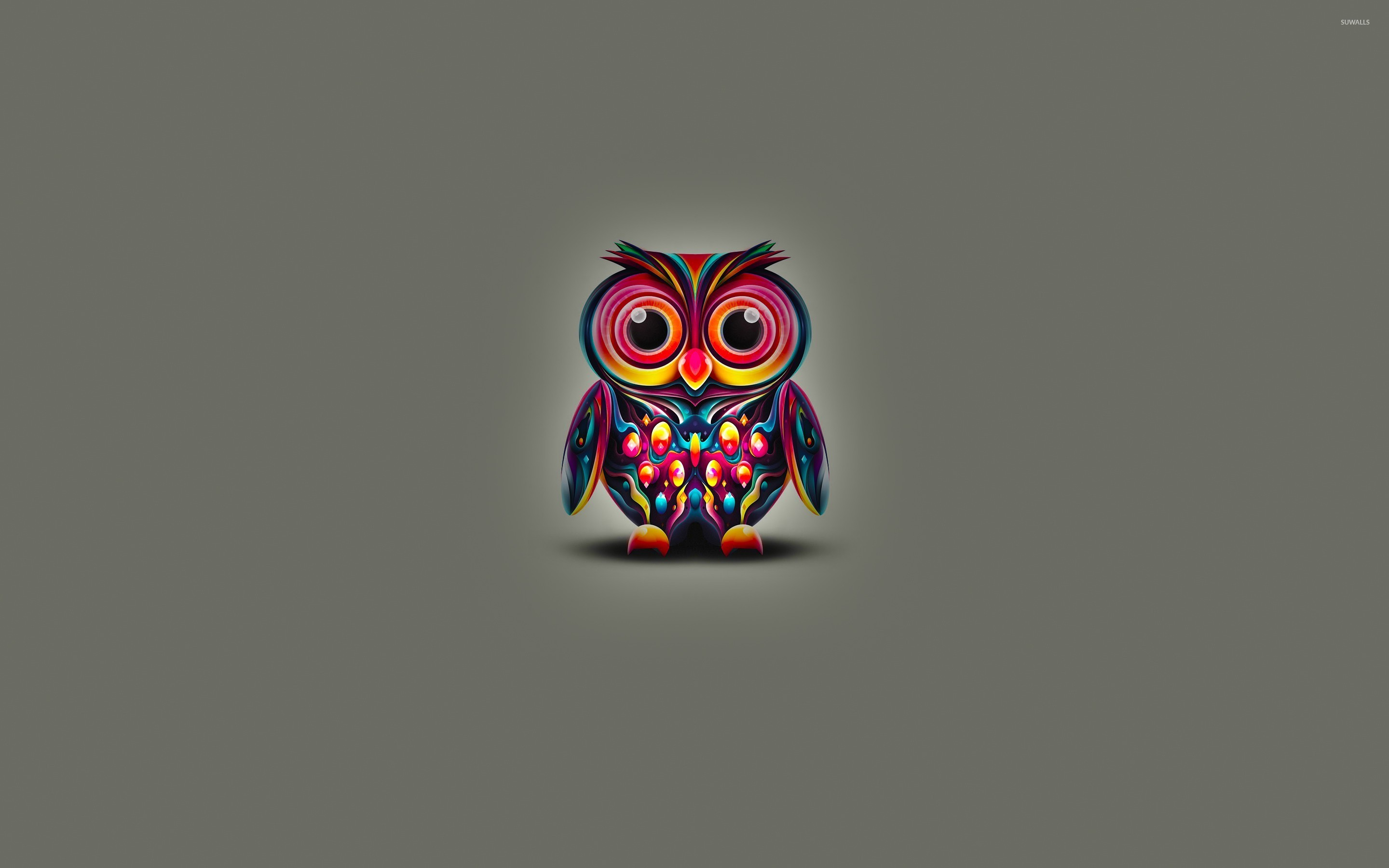 Res: 2880x1800, Cute owl with colorful bright feathers wallpaper