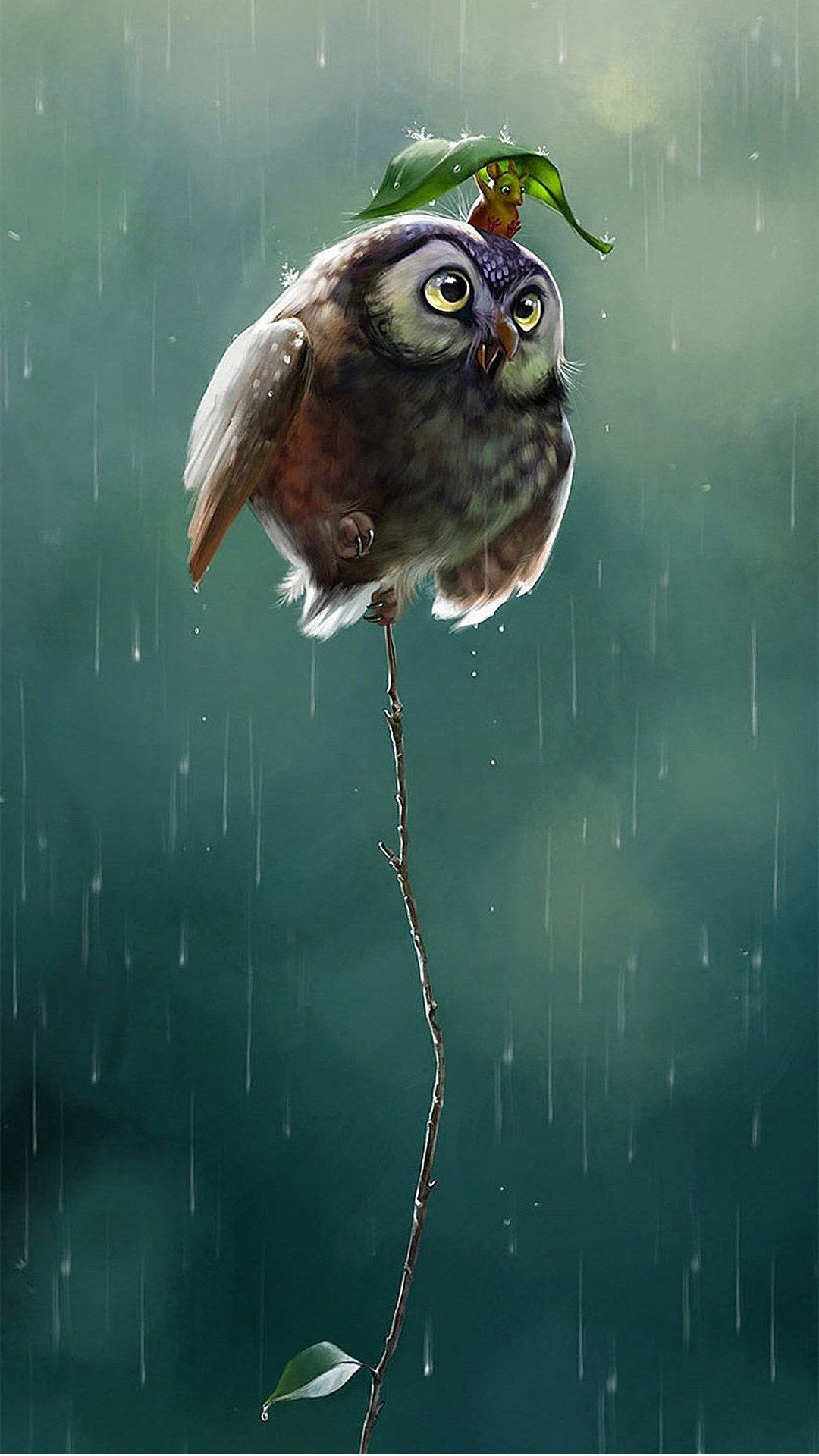 Res: 1080x1920, Cute Owl Flying High Rainy Day Covering Leaf #iPhone #6 #wallpaper