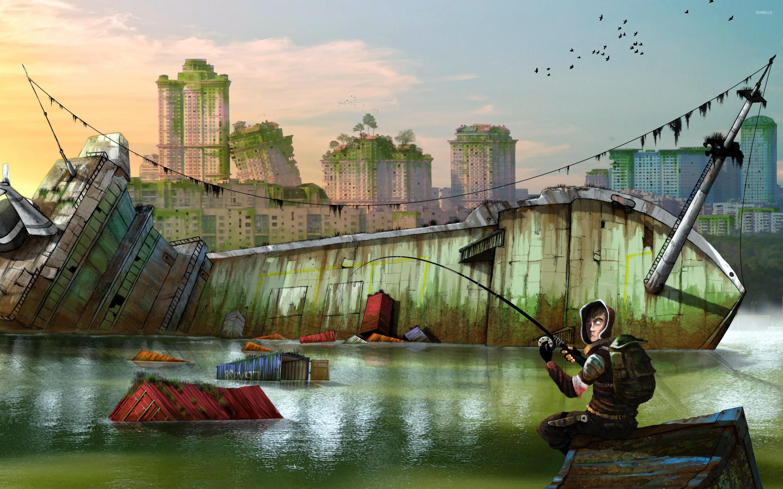 Res: 2880x1800, Fishing at the shipwreck wallpaper