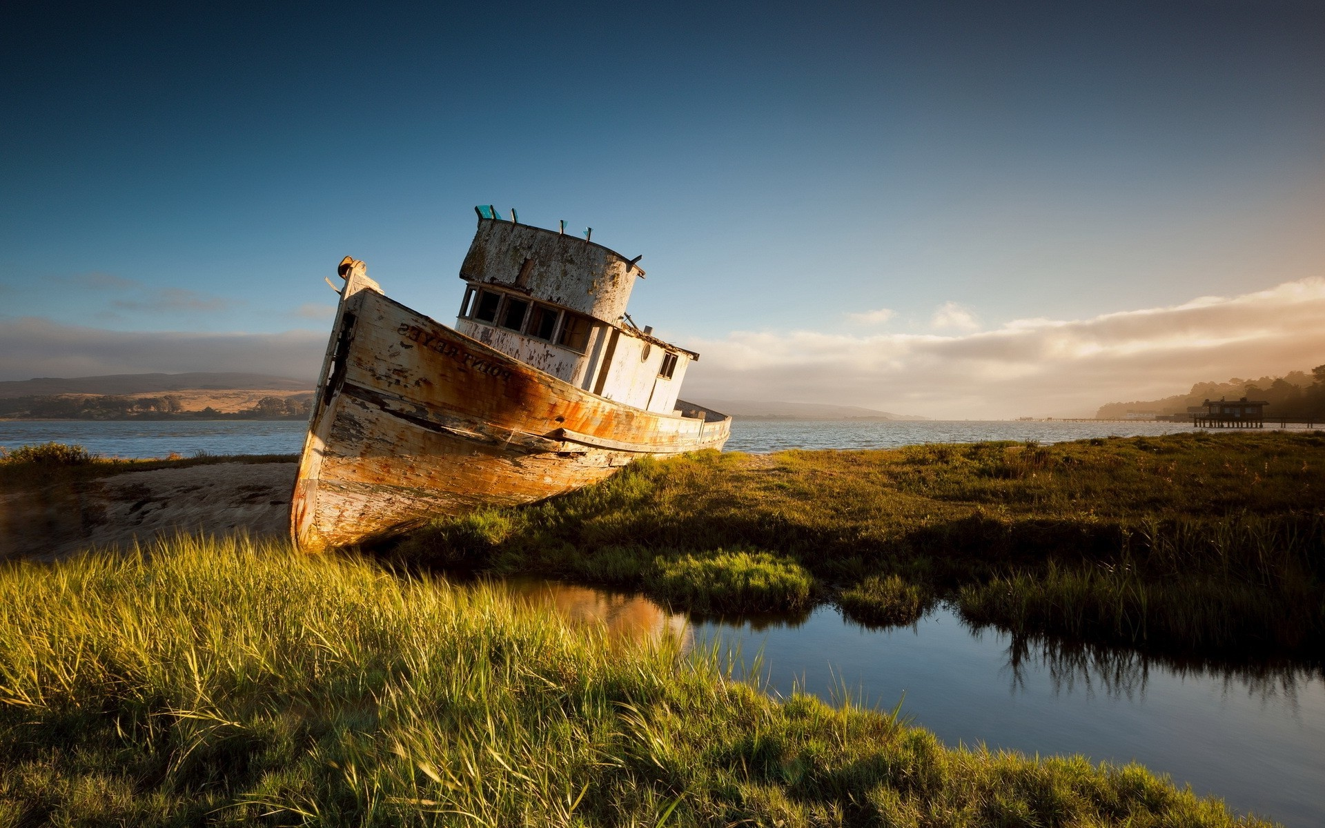 Res: 1920x1200, nature, Landscape, Water, Sea, Clouds, Ship, Shipwreck, Rust, Sand, Grass,  Hill, California Wallpapers HD / Desktop and Mobile Backgrounds