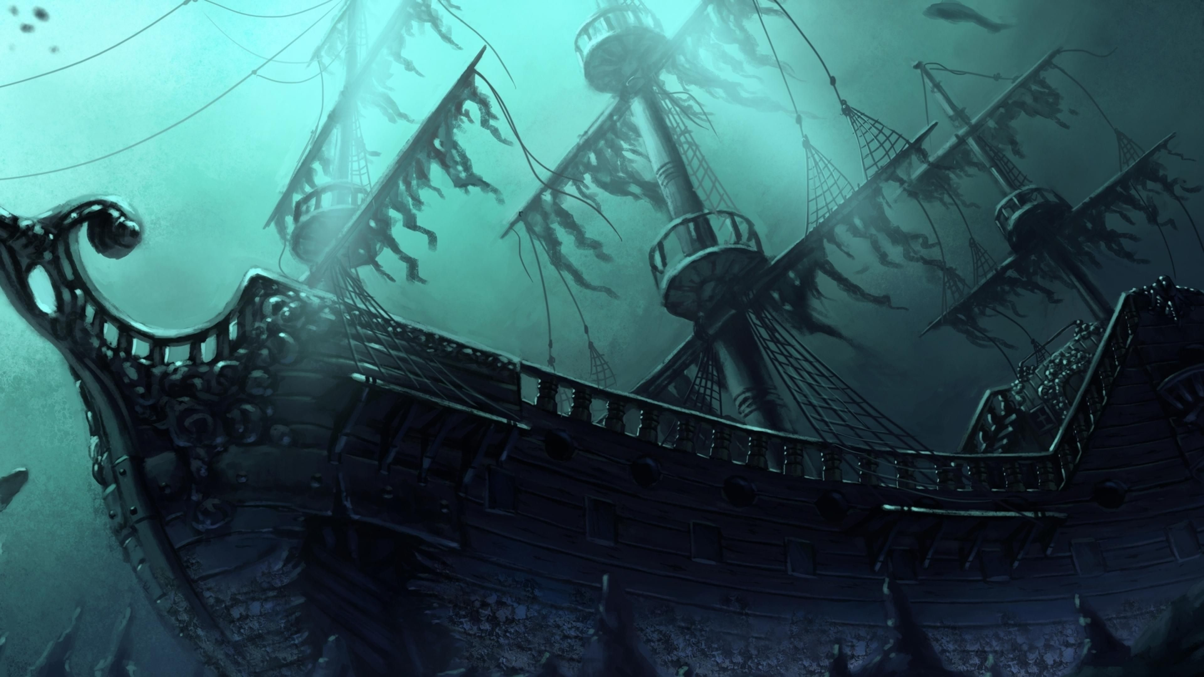 Res: 3840x2160, Ghost Pirate Ship Wallpaper High Quality Resolution