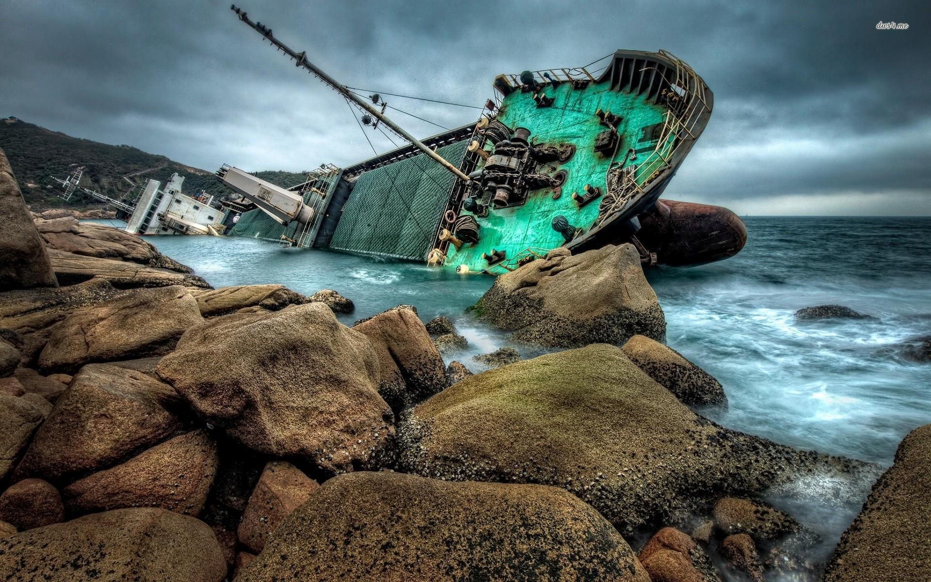 Res: 1920x1200, ... Submerged shipwreck wallpaper  ...