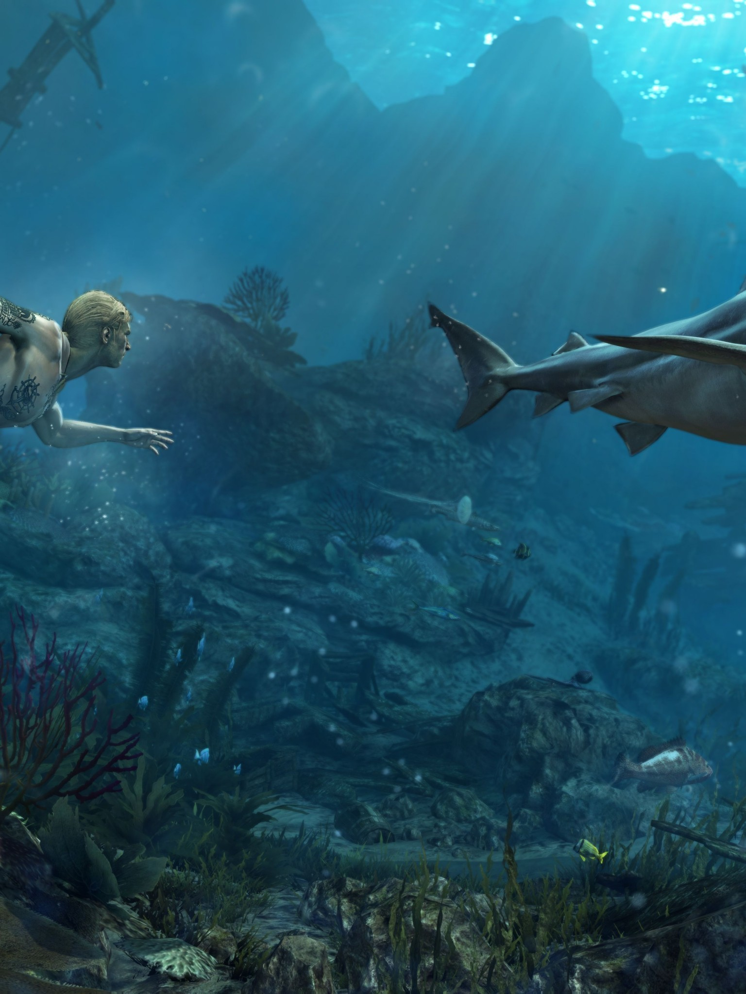 Res: 1536x2048, Assassin's Creed 4: Black Flag, Underwater, Shark, Shipwreck