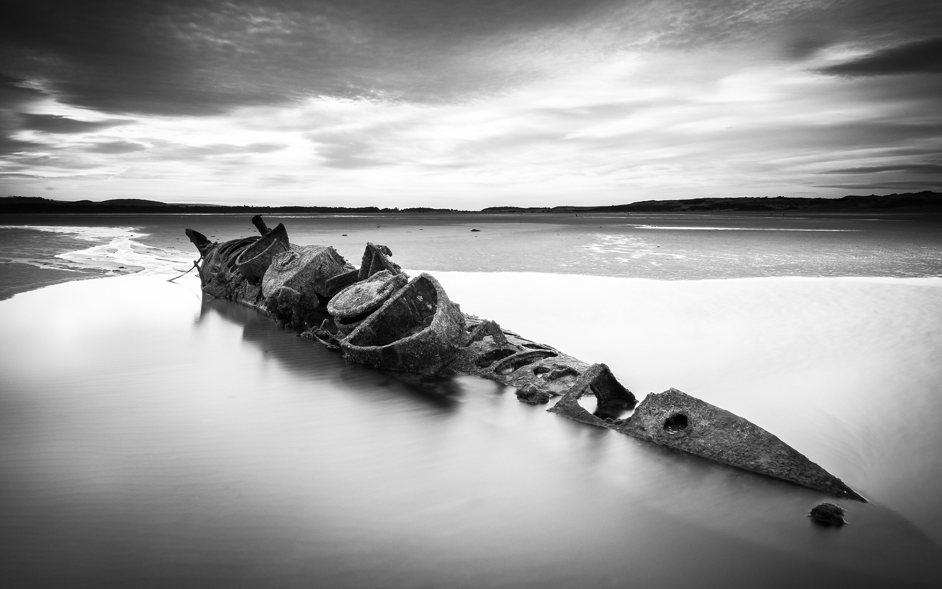 Res: 1920x1200, nature, Landscape, Water, Sea, Clouds, Ship, Shipwreck, Rust, Drown,  Monochrome, Long Exposure Wallpapers HD / Desktop and Mobile Backgrounds