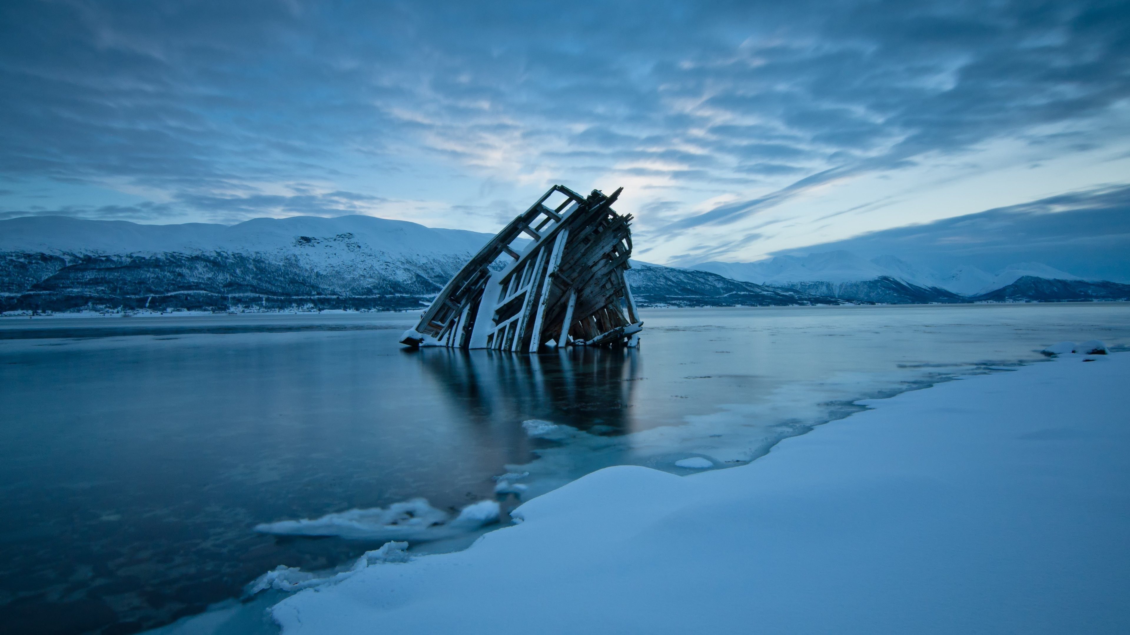 Res: 3840x2160, #frozen river, #water, #wood planks, #Norway, #nature, #evening, #clouds,  #landscape, #snow, #ice, #mountains, #shipwreck, #frost, #winter, wallpaper