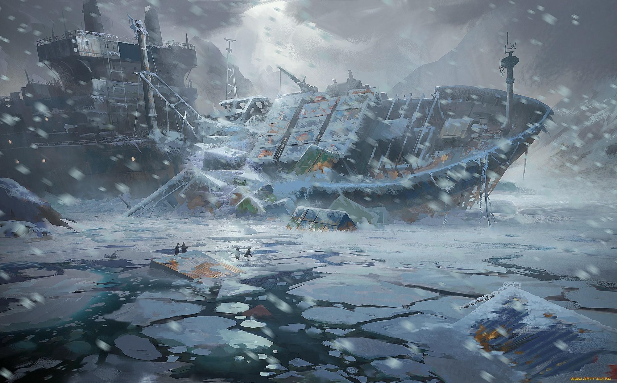 Res: 2000x1242, #artwork, #Arctic, #shipwreck, wallpaper