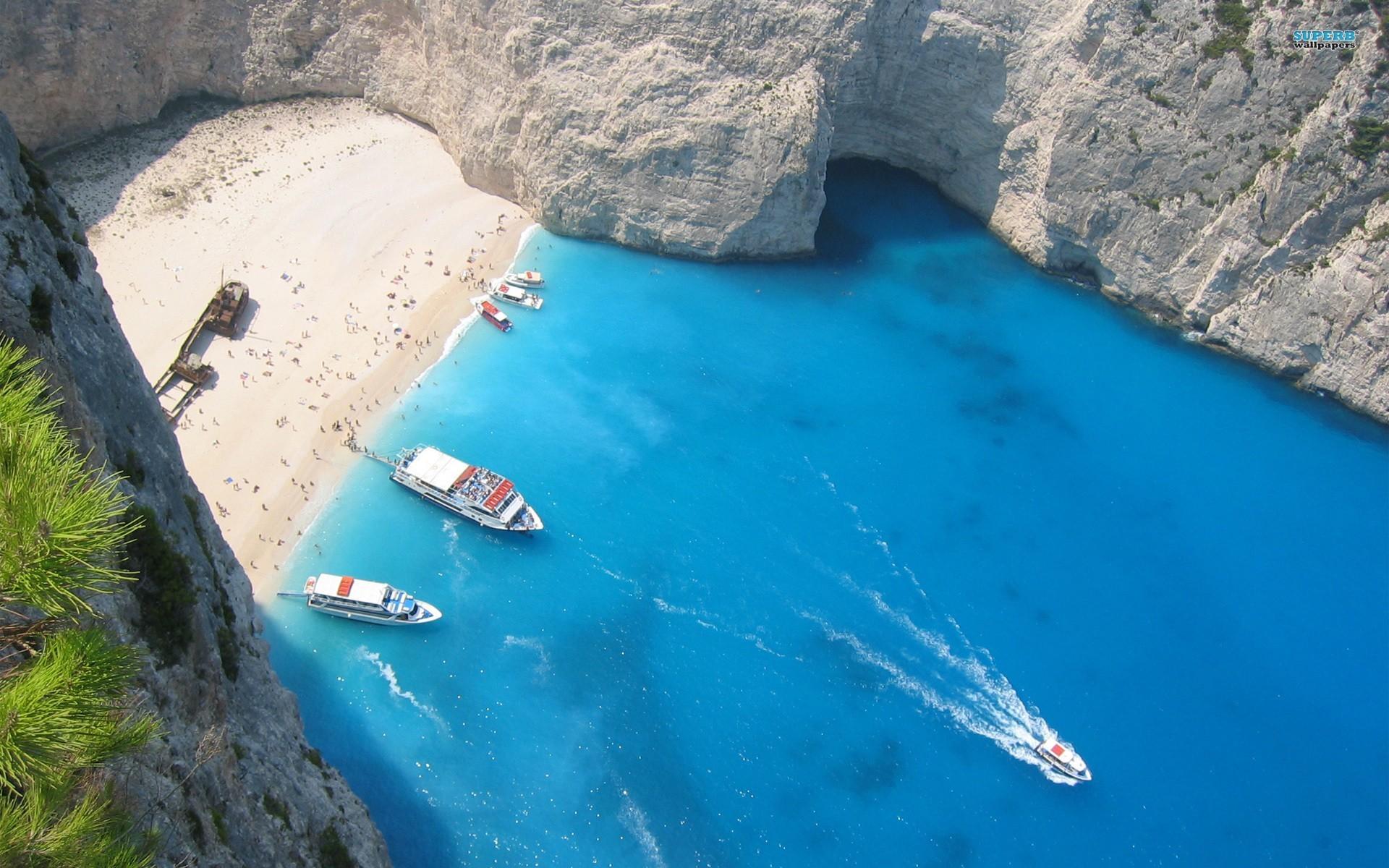 Res: 1920x1200, Beach islands boats greece seaside vehicles bay shipwreck wallpaper |   | 13818 | WallpaperUP