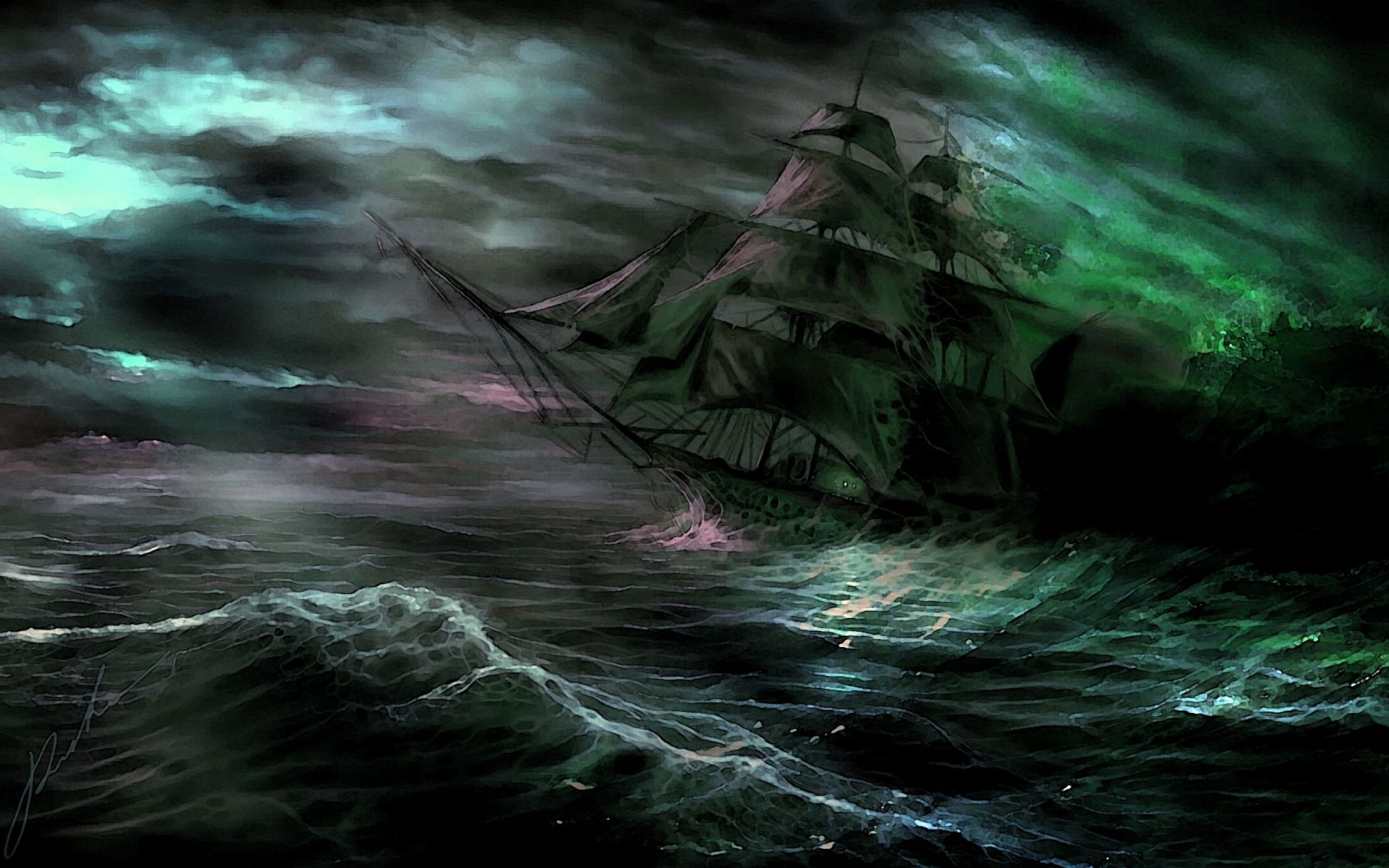 Res: 2560x1600, spooky, Ship, Shipwreck, Ghost, Fantasy, Storm, Ocean, Sea, Waves Wallpapers  HD / Desktop and Mobile Backgrounds