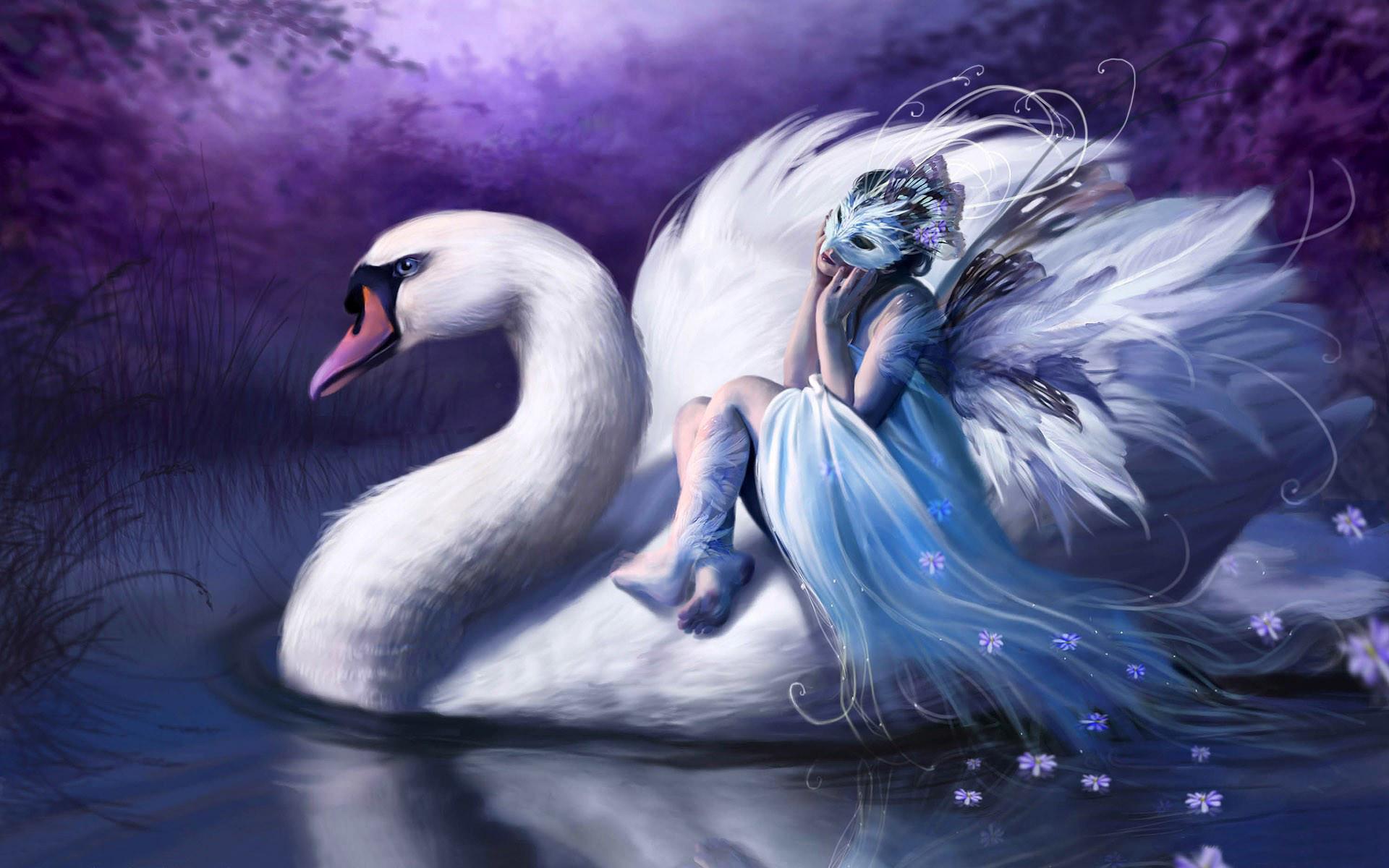 Res: 1920x1200,  Woman riding swan desktop PC and Mac wallpaper