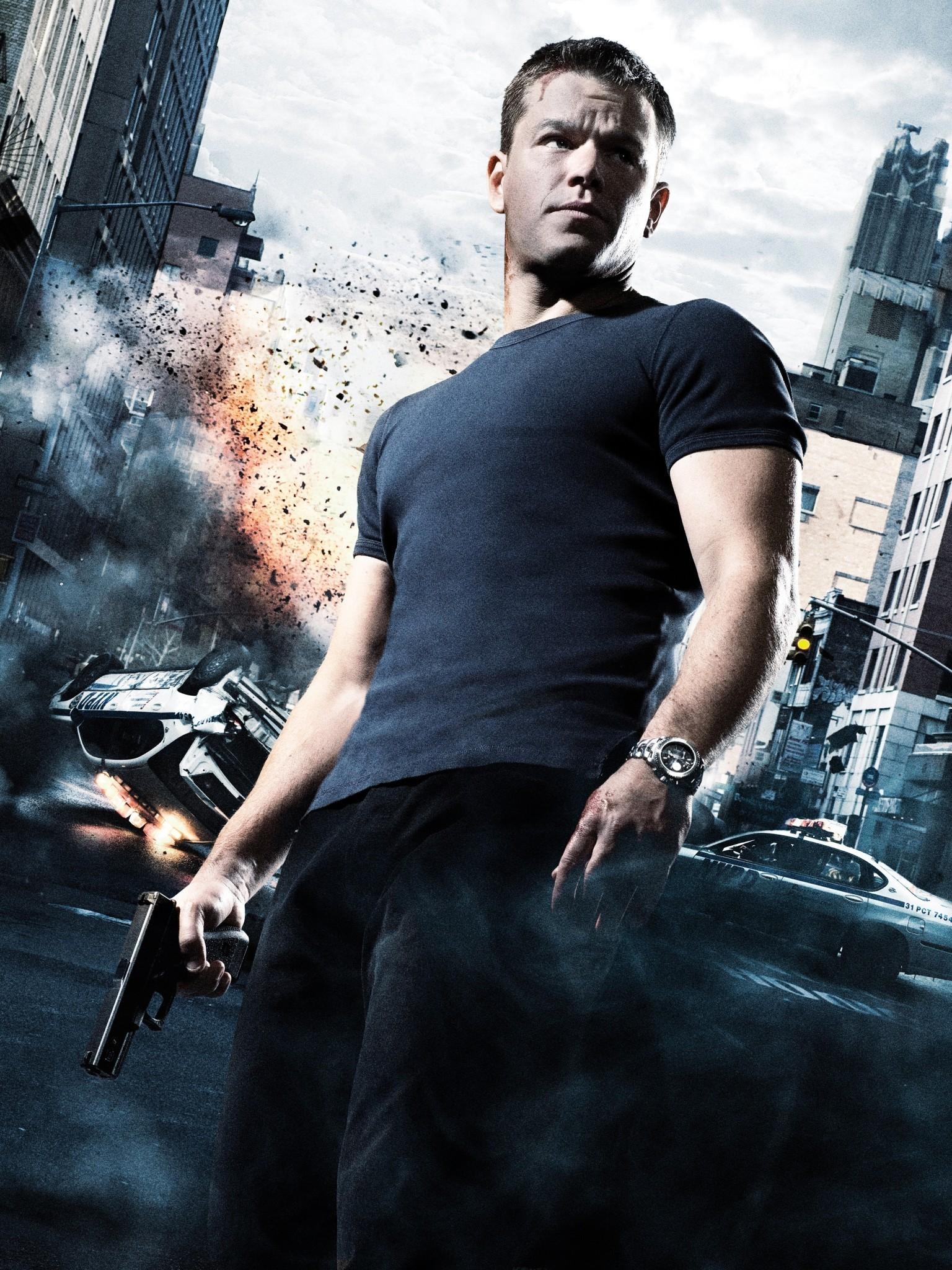 Res: 1536x2048, The Bourne Ultimatum, Matt Damon, Explosion, Jason Bourne