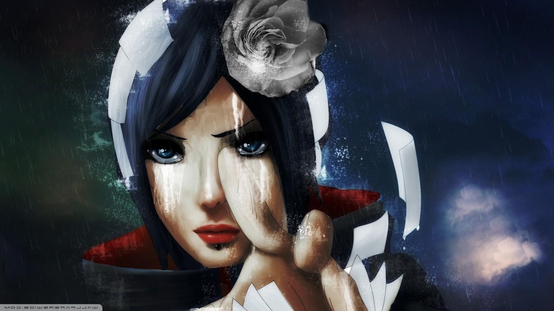 Res: 1920x1080, Konan, Naruto Shippuuden, Akatsuki, Flower In Hair, Blue Hair