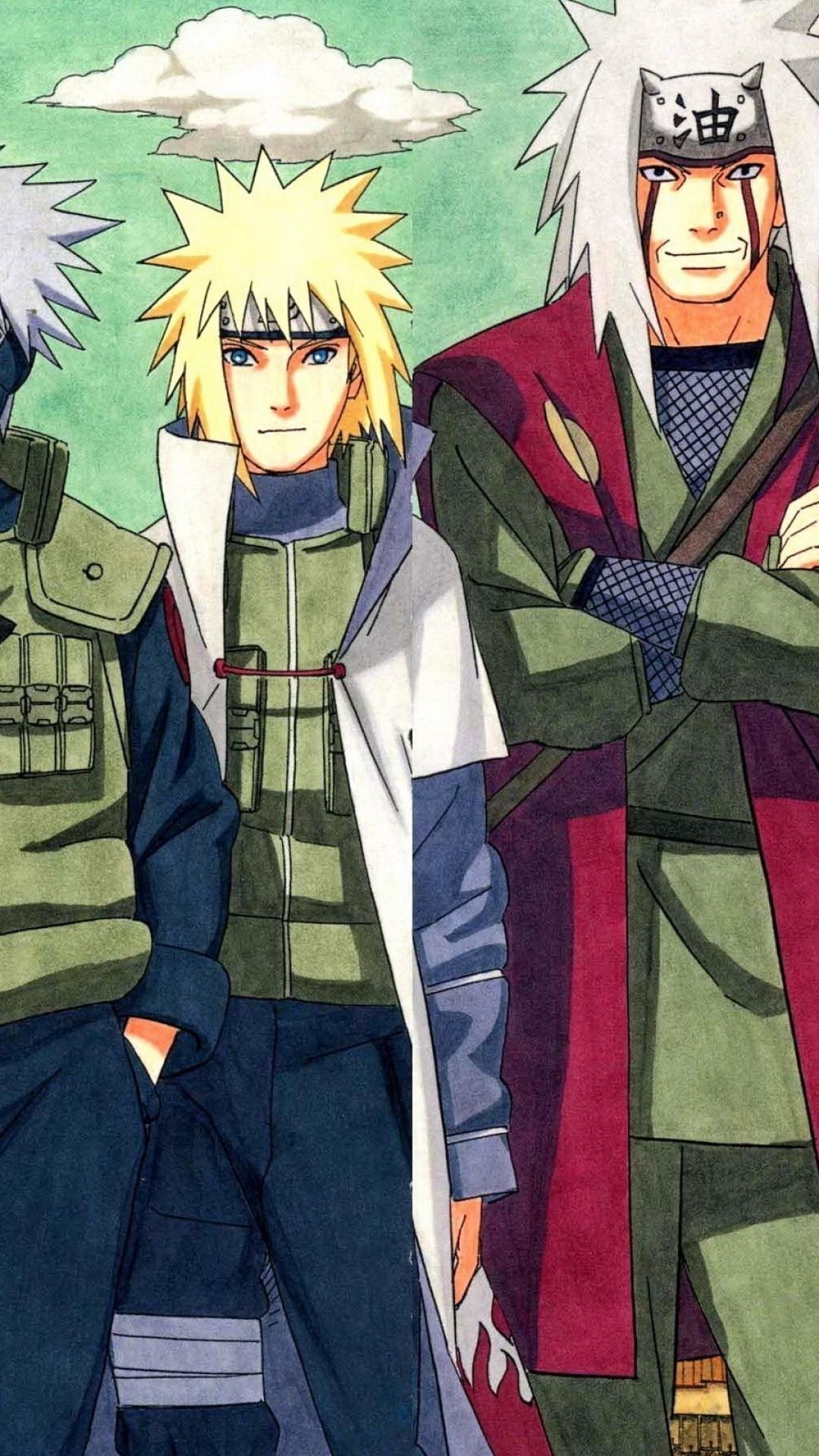 Res: 1080x1920, Naruto, Kakashi, Jiraiya, Minato, Sandaime