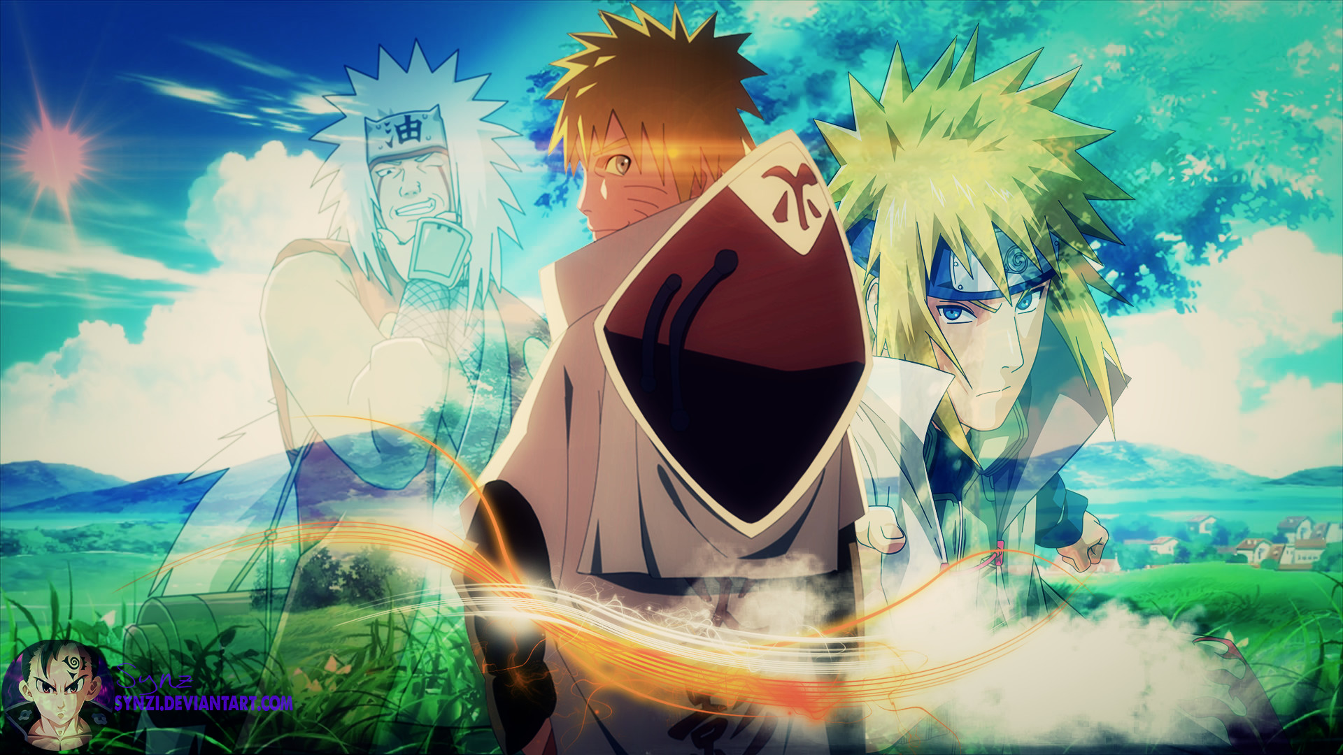Res: 1920x1080, Naruto, Jiraiya and Minato by SynZi on DeviantArt
