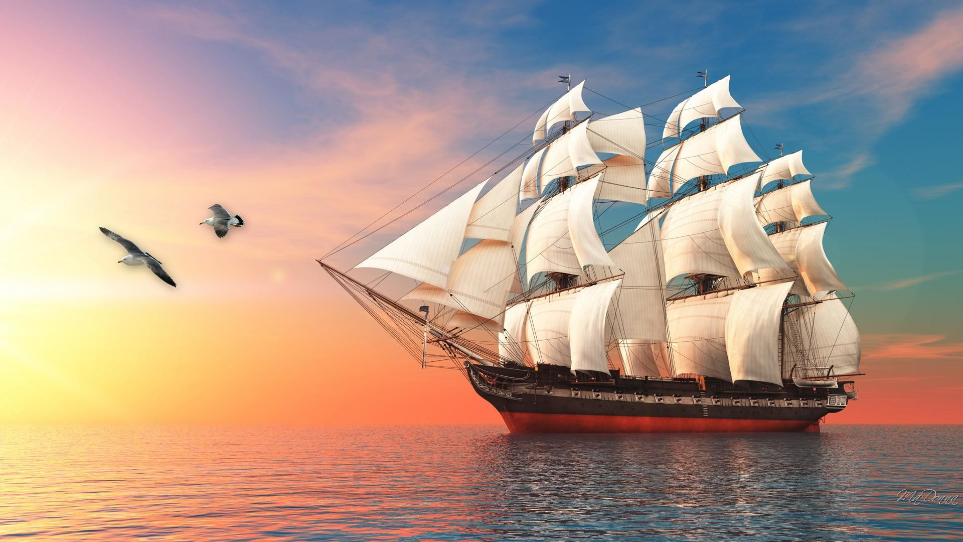 Res: 1920x1080, Tall ship at sunrise HQ WALLPAPER 106766