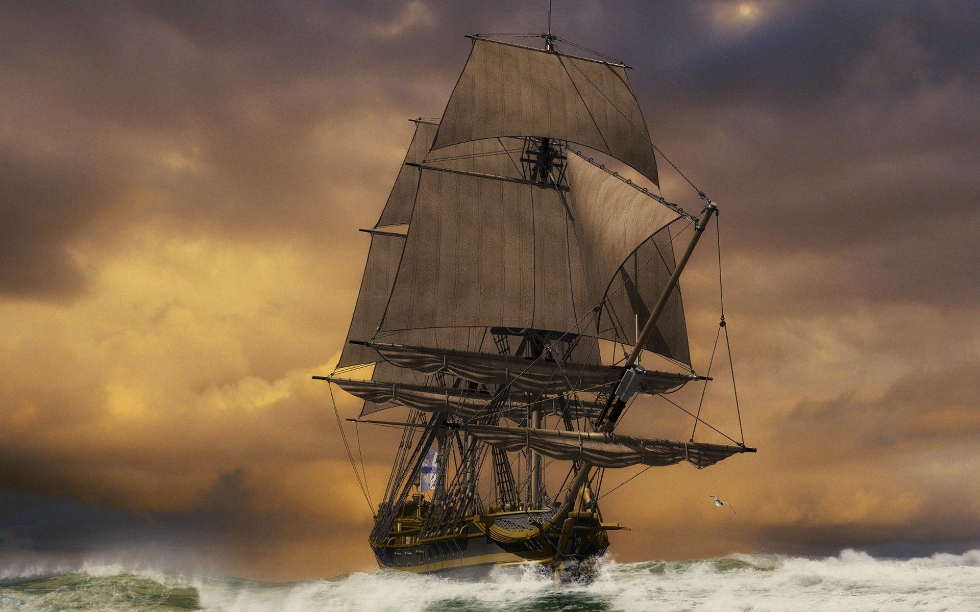 Res: 1920x1200, Sailing Ship Full HD Wallpaper and Background Image |